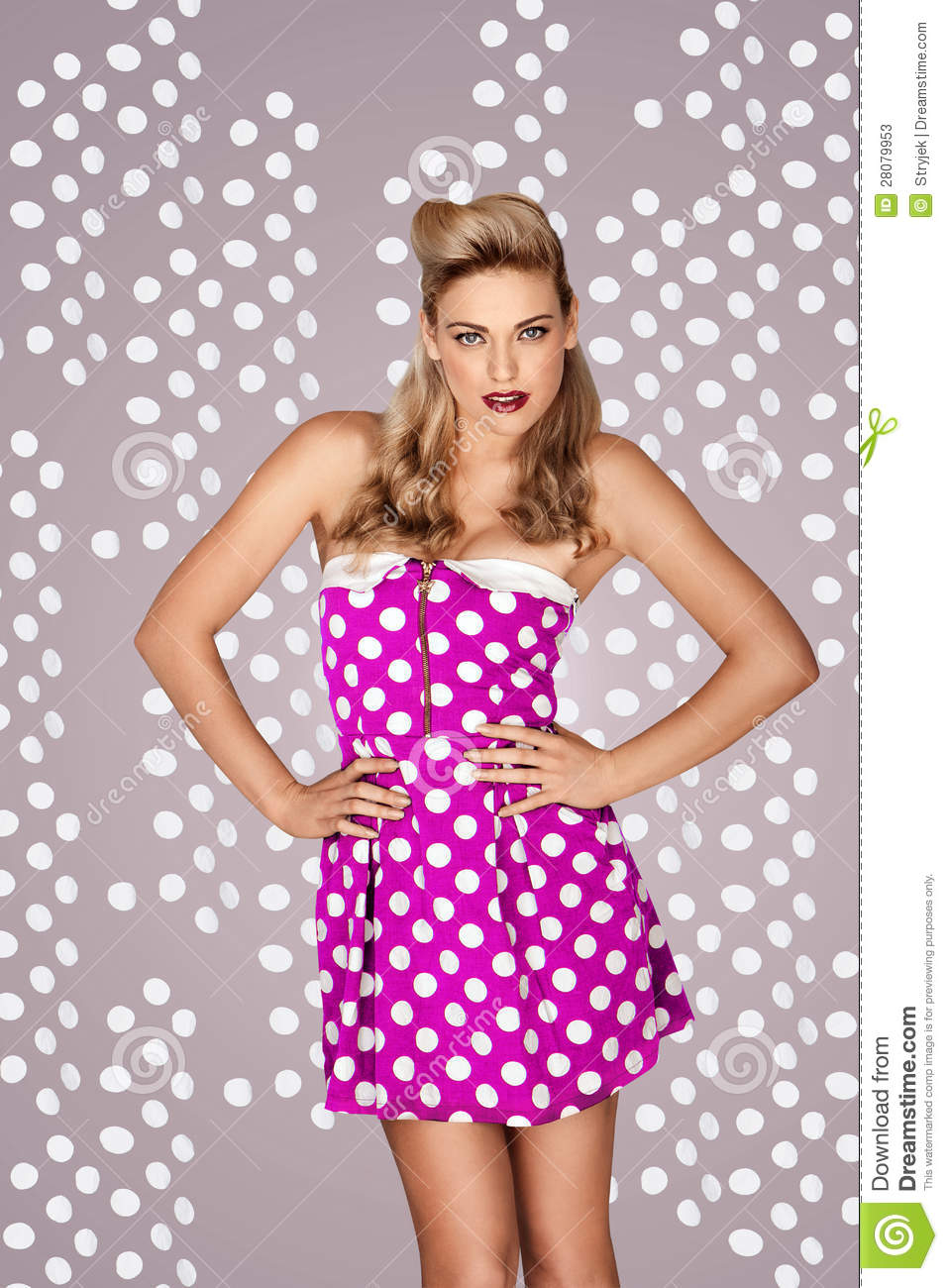 Beautiful Blonde Retro Fashion Model In A Pink Polka Dot ...
