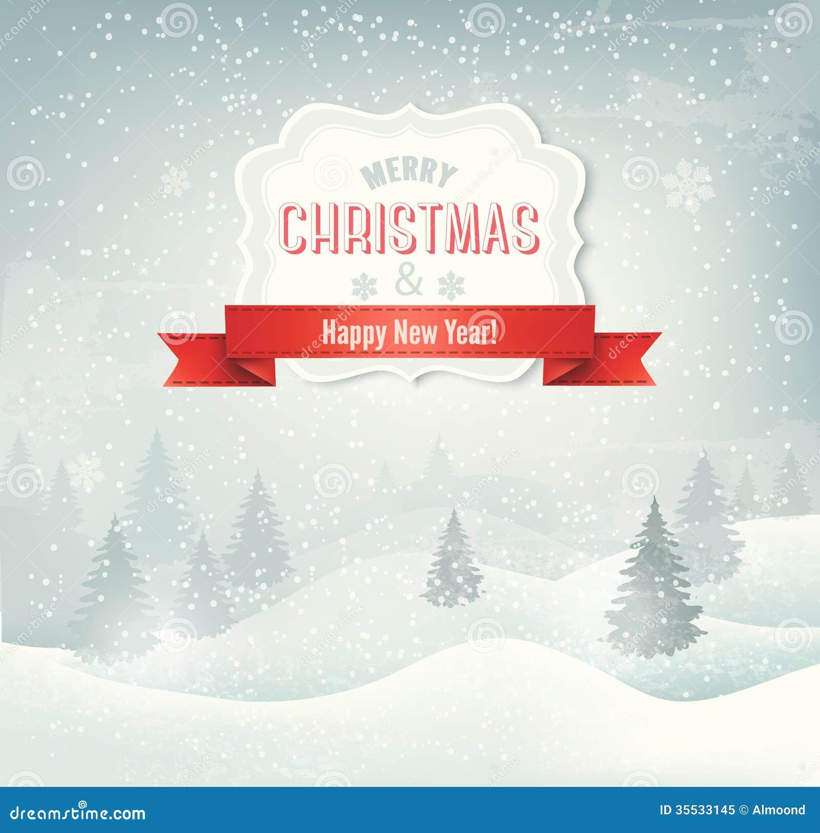 Retro- Feiertagsweihnachtshintergrund mit Winter lan