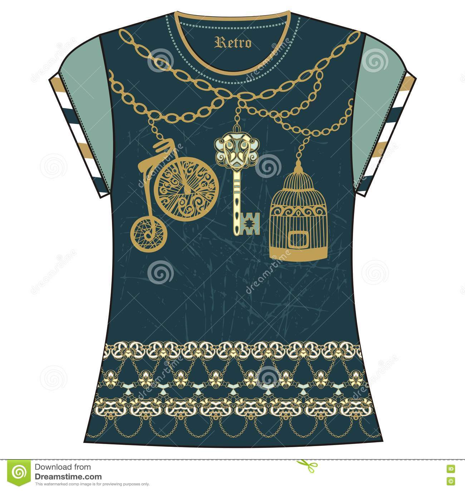 Retro Female Fashion T Shirt Print Design Of Heraldic Key Bird Cage
