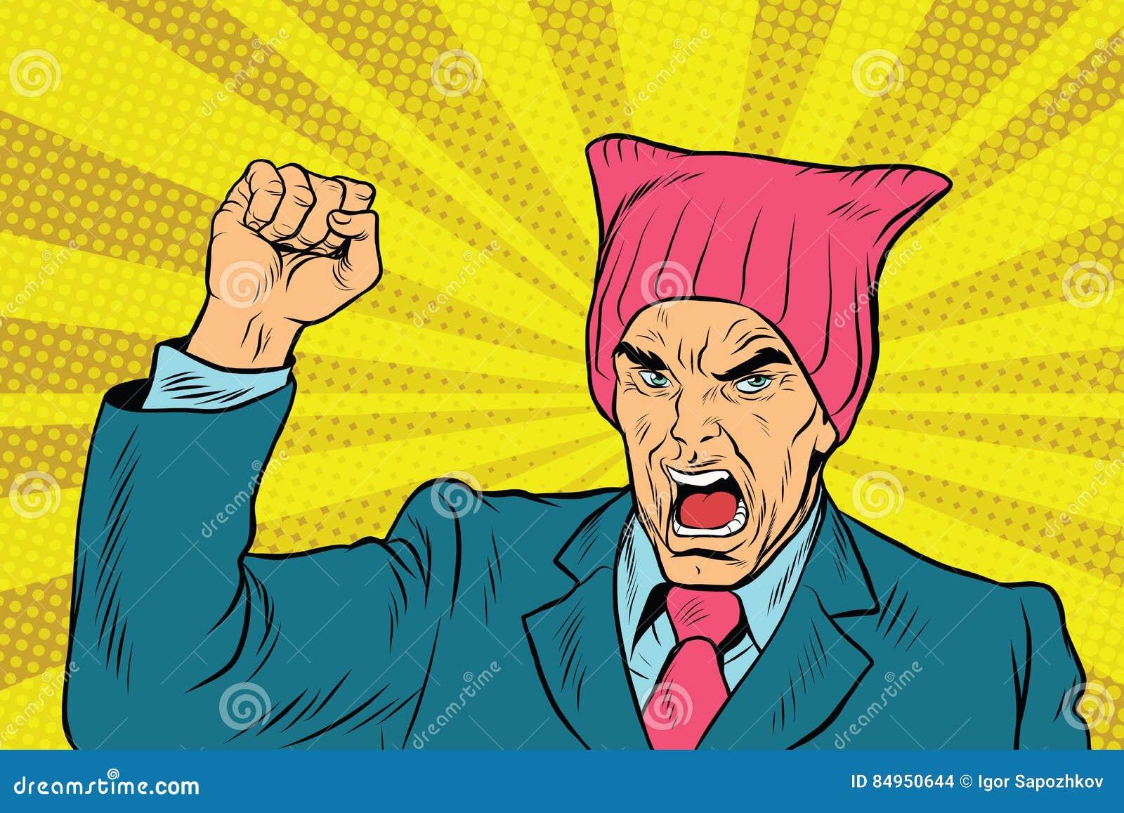 Retro femminista arrabbiata del politico