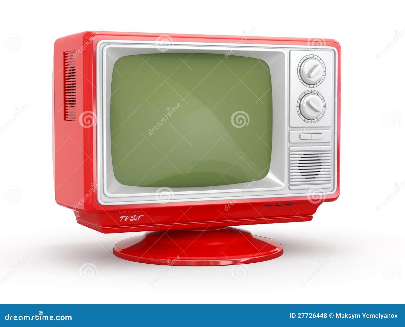 Retro- Fernsehapparat der roten Weinlese