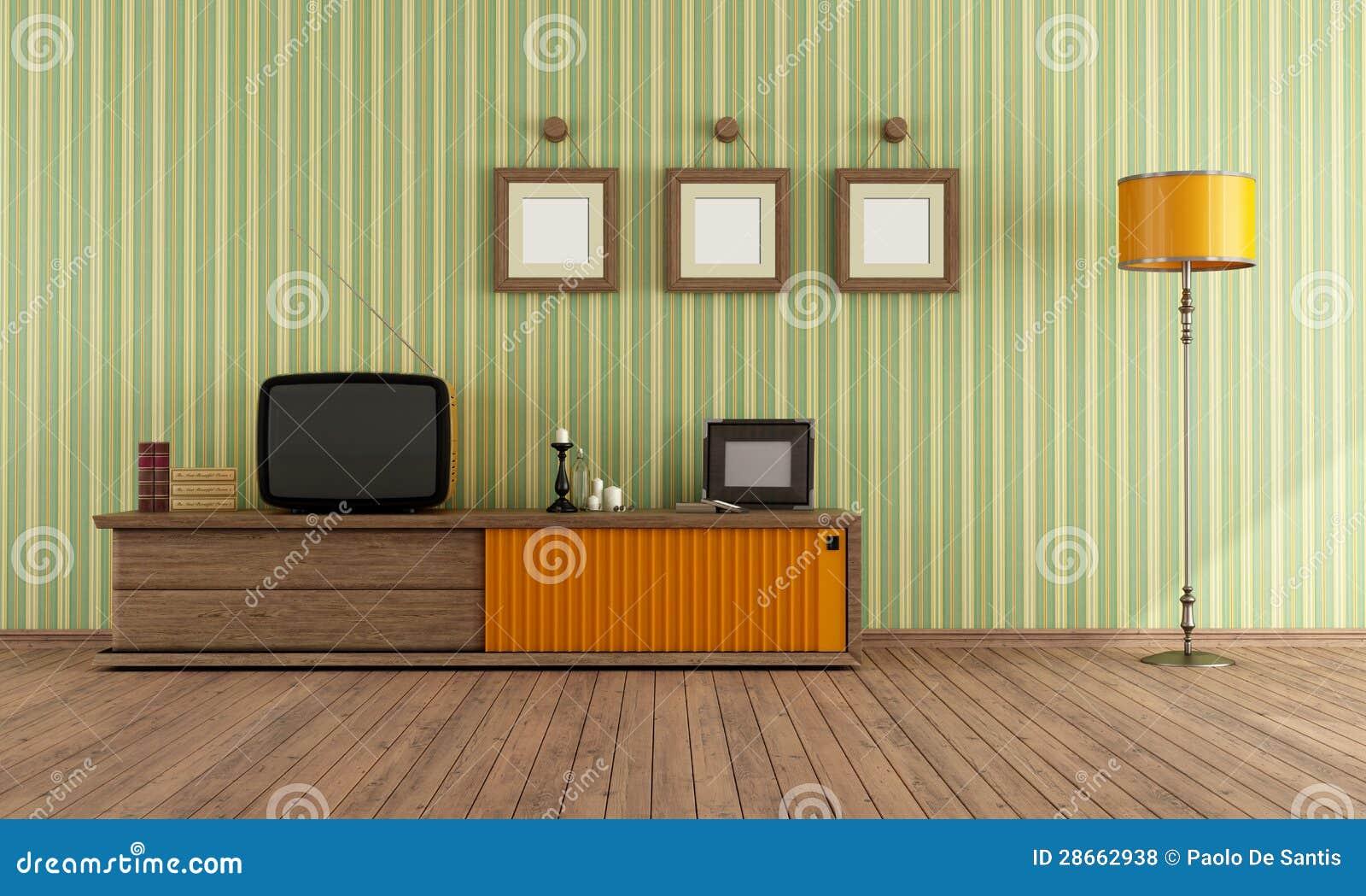 Retro Fernsehapparat In Einem Wohnzimmer Stock Abbildung ...