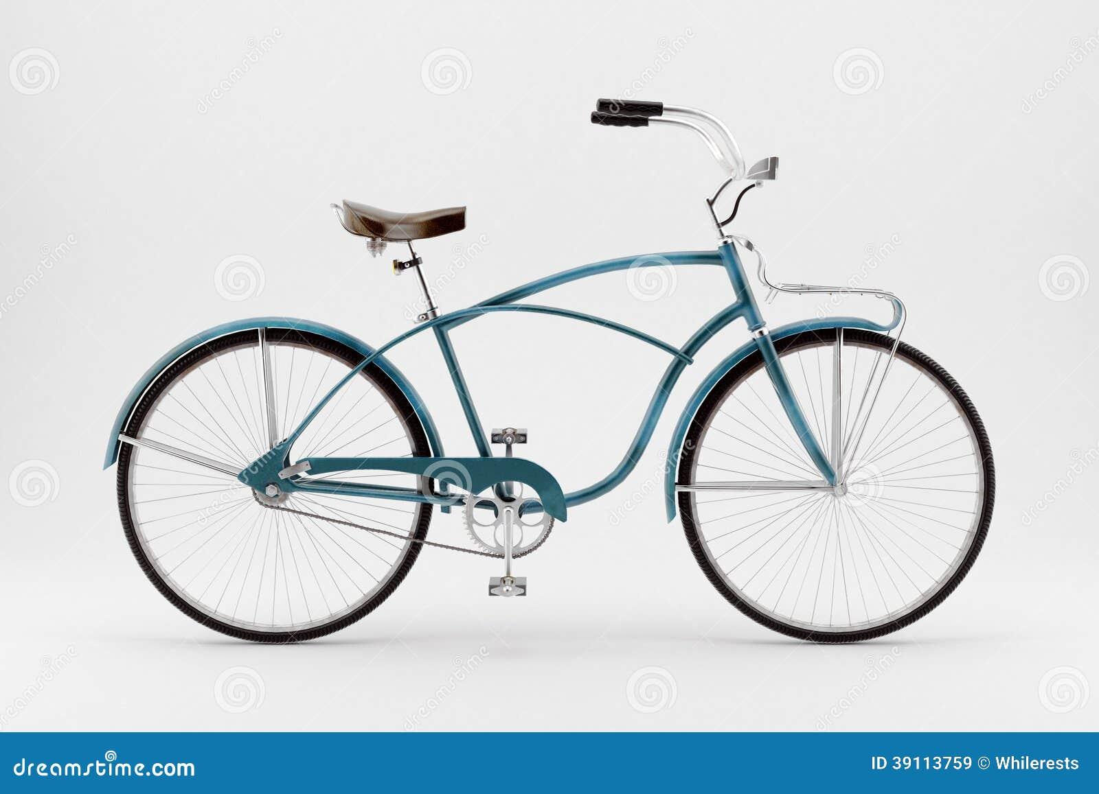 Retro fiets op een witte achtergrond.