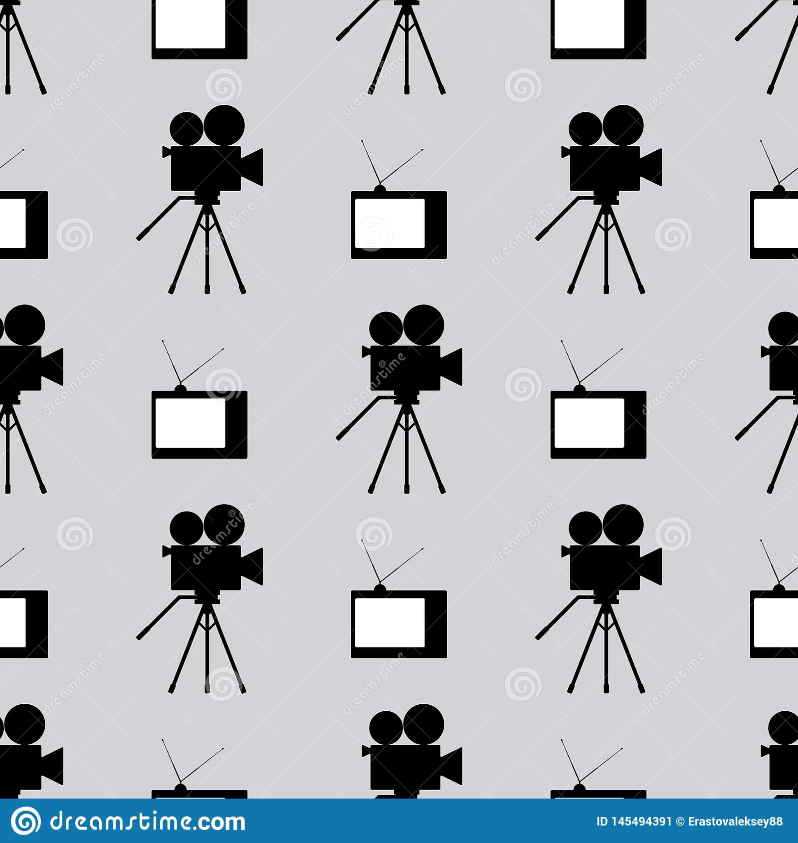 Retro film industry seamless pattern. Repetitive vintage TVs and camcorders. Seamless pattern. Black, white, gray.