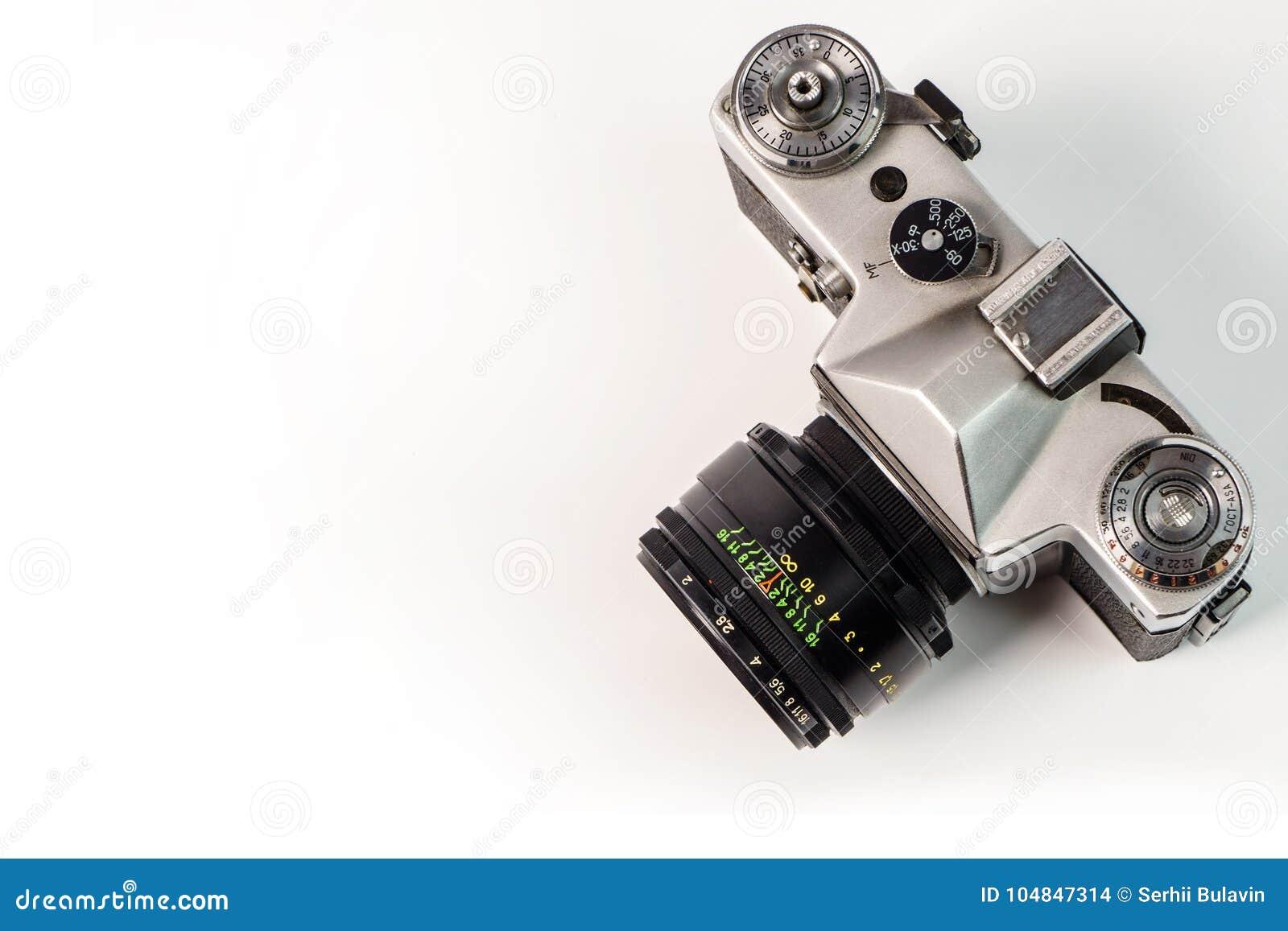 Retro Film Photo Camera Isolated On White Background. Old Analog ...