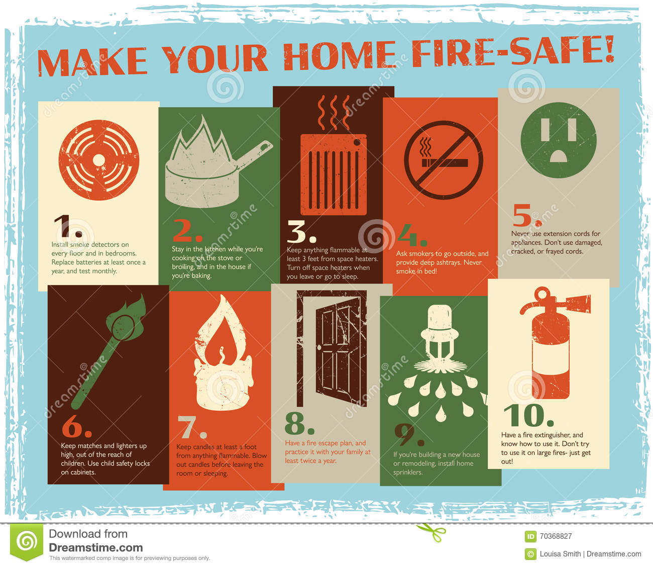 Retro fire safety guide stock vector image of smoking for House fire safety tips