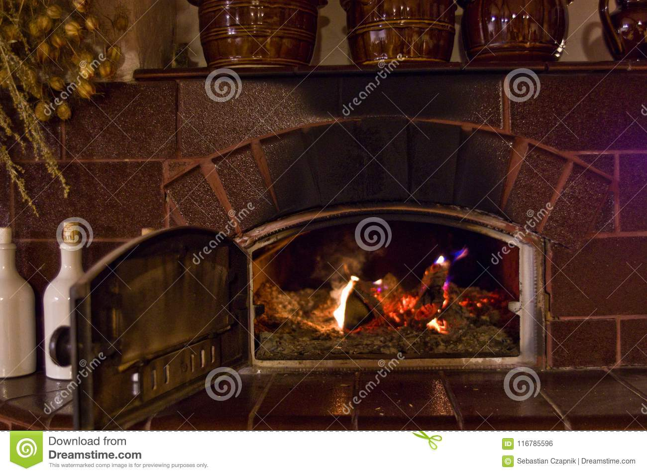 Retro Fireplace In The Rustic Kitchen Stock Photo Image Of