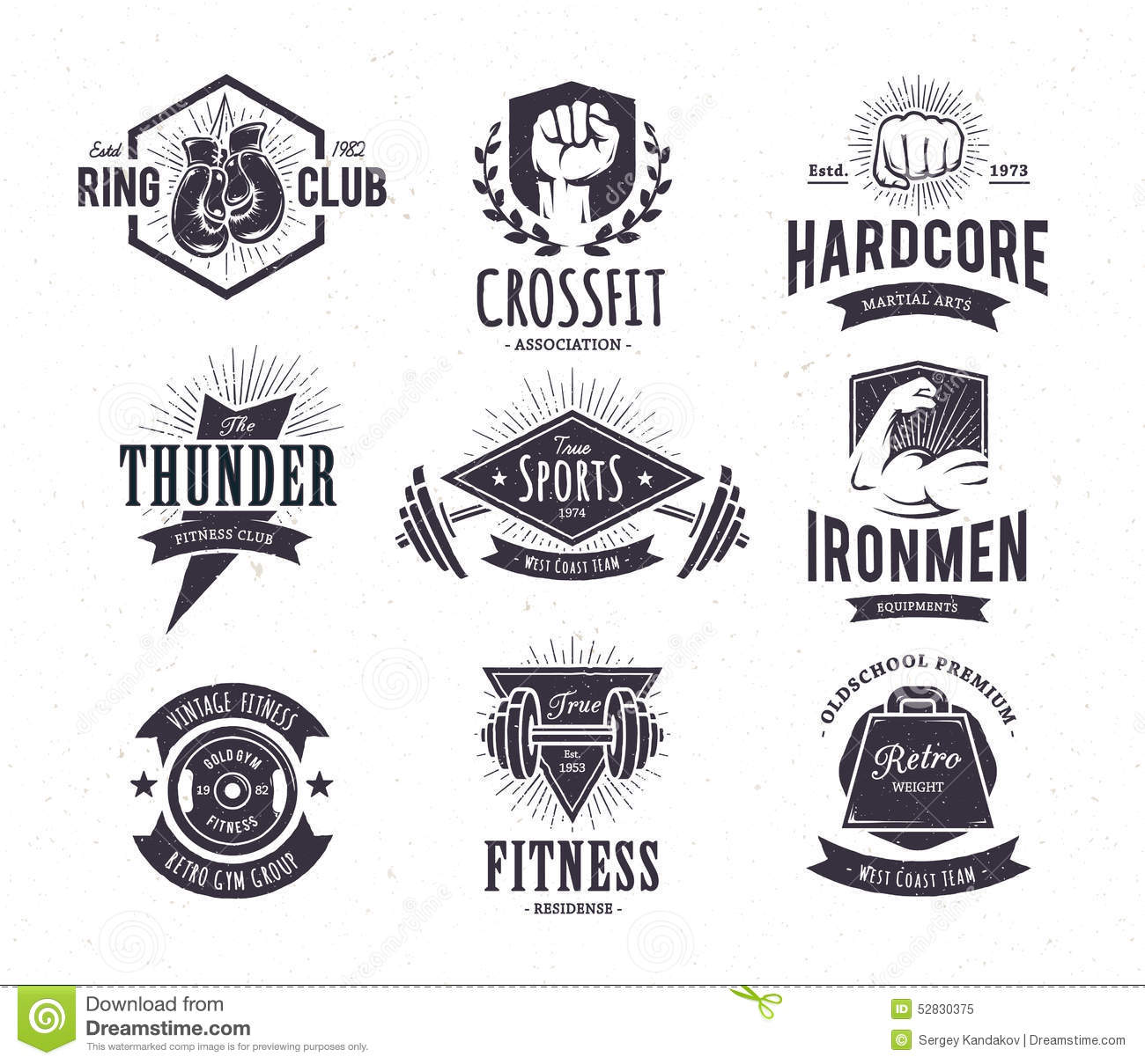 retro fitness emblems stock vector illustration of hipster 52830375. Black Bedroom Furniture Sets. Home Design Ideas