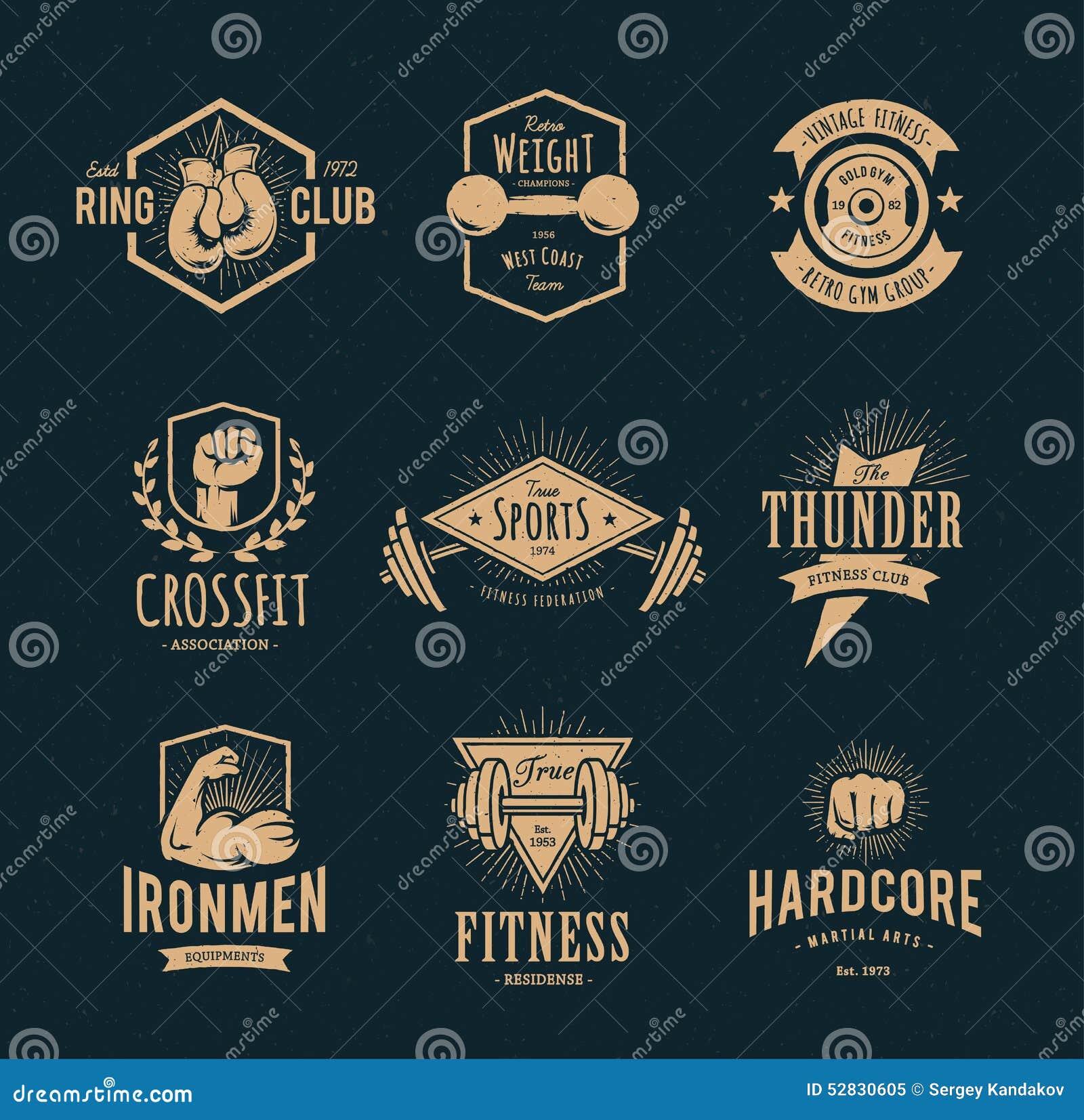 Retro Fitness Emblems Stock Vector