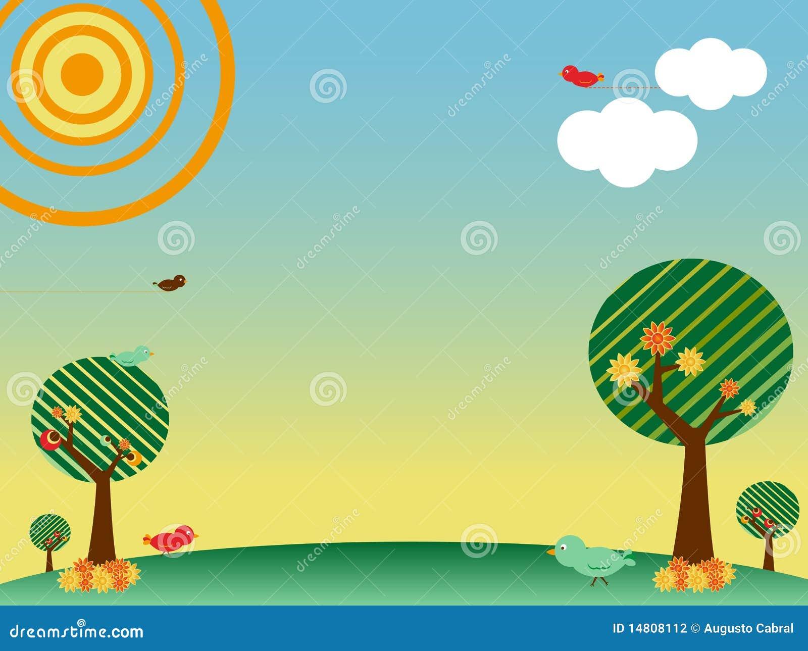 Trees för fjäder för fågelliggande retro