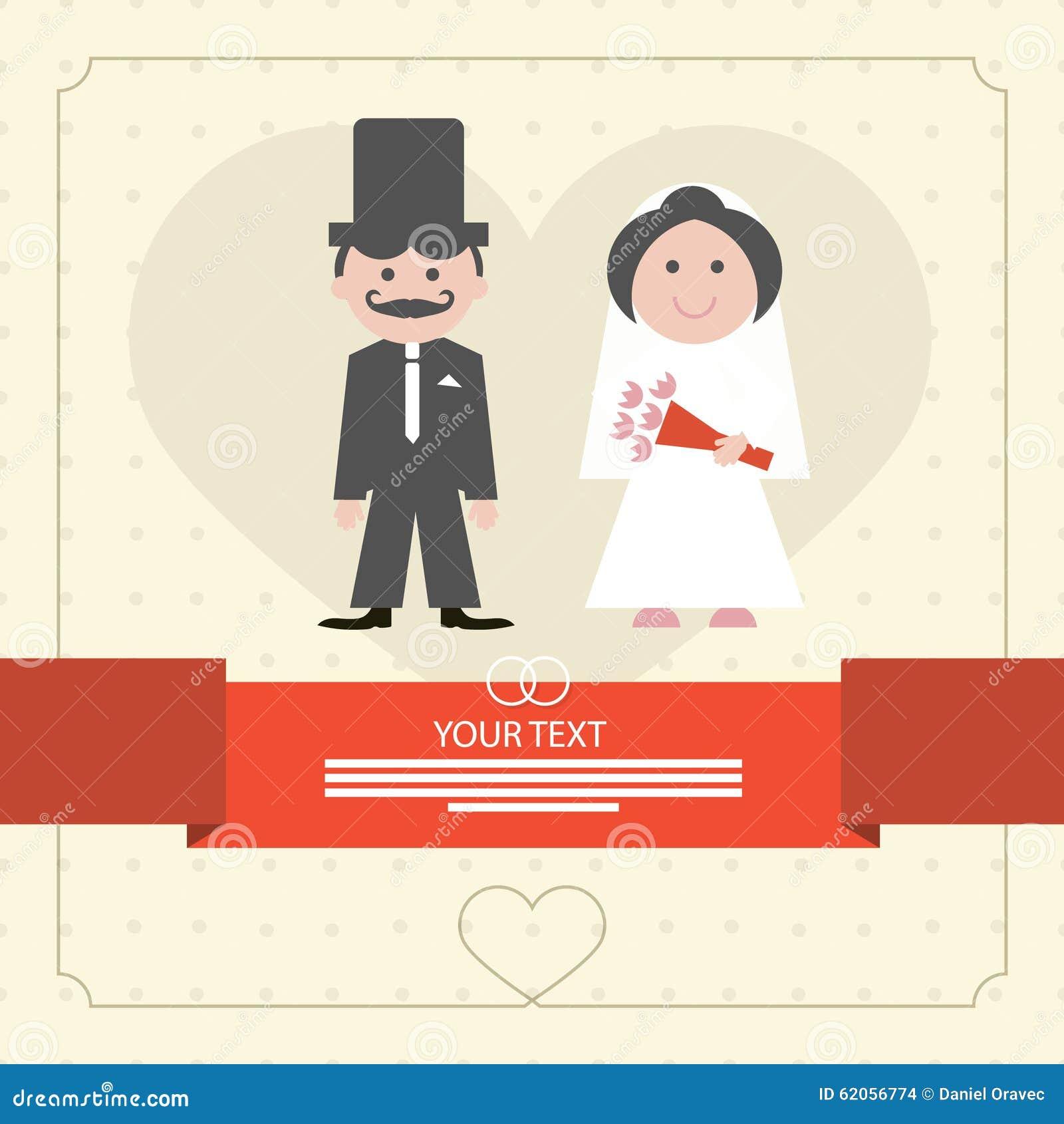 Retro Flat Design Wedding Card Illustration Stock Vector ...