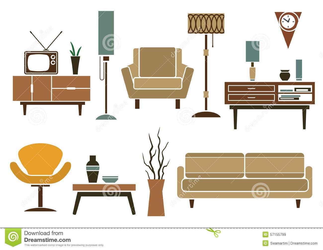 Retro flat furniture and interior icons stock vector for Flat furniture