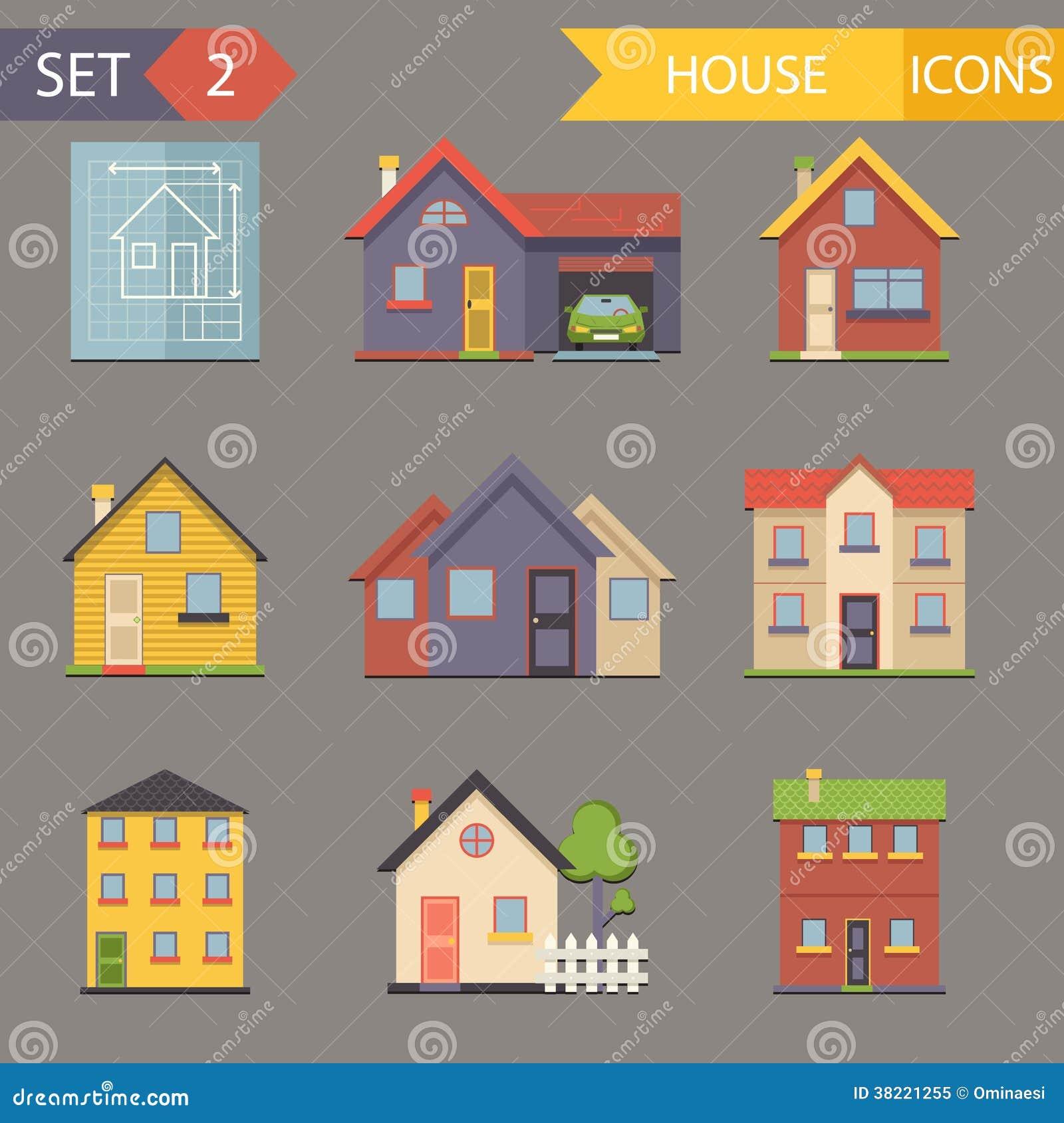 Retro Flat House Icons And Symbols Set Vector Royalty Free