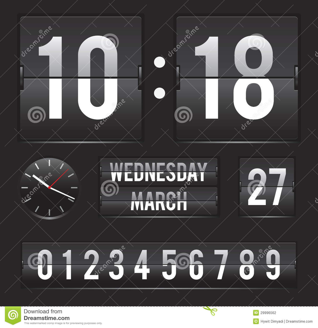 retro flip clock with date and dual timer stock vector