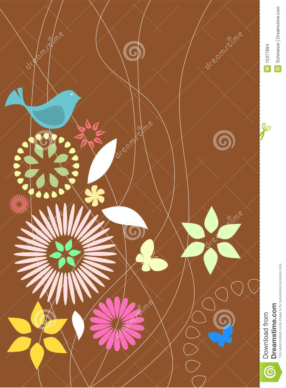Retro Flora And Fauna Wallpaper Stock Images Image 15377894