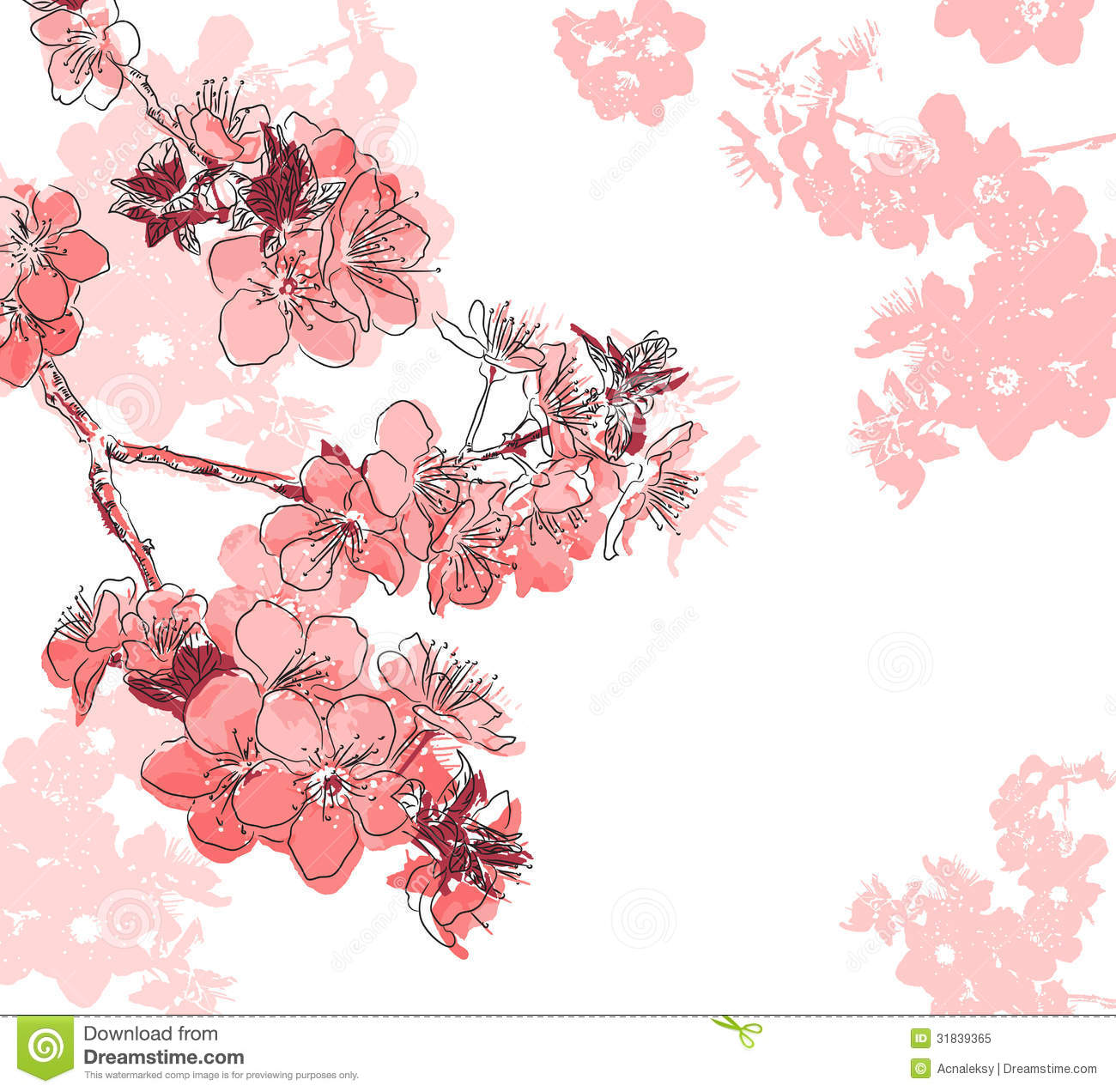 Retro Floral Background With A Flower Sakura Stock Vector
