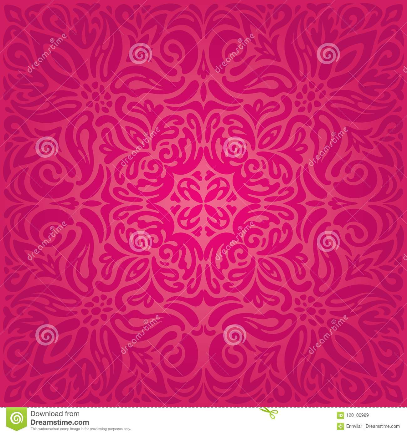 Excellent Retro Floral Red Vector Pattern Wallpaper
