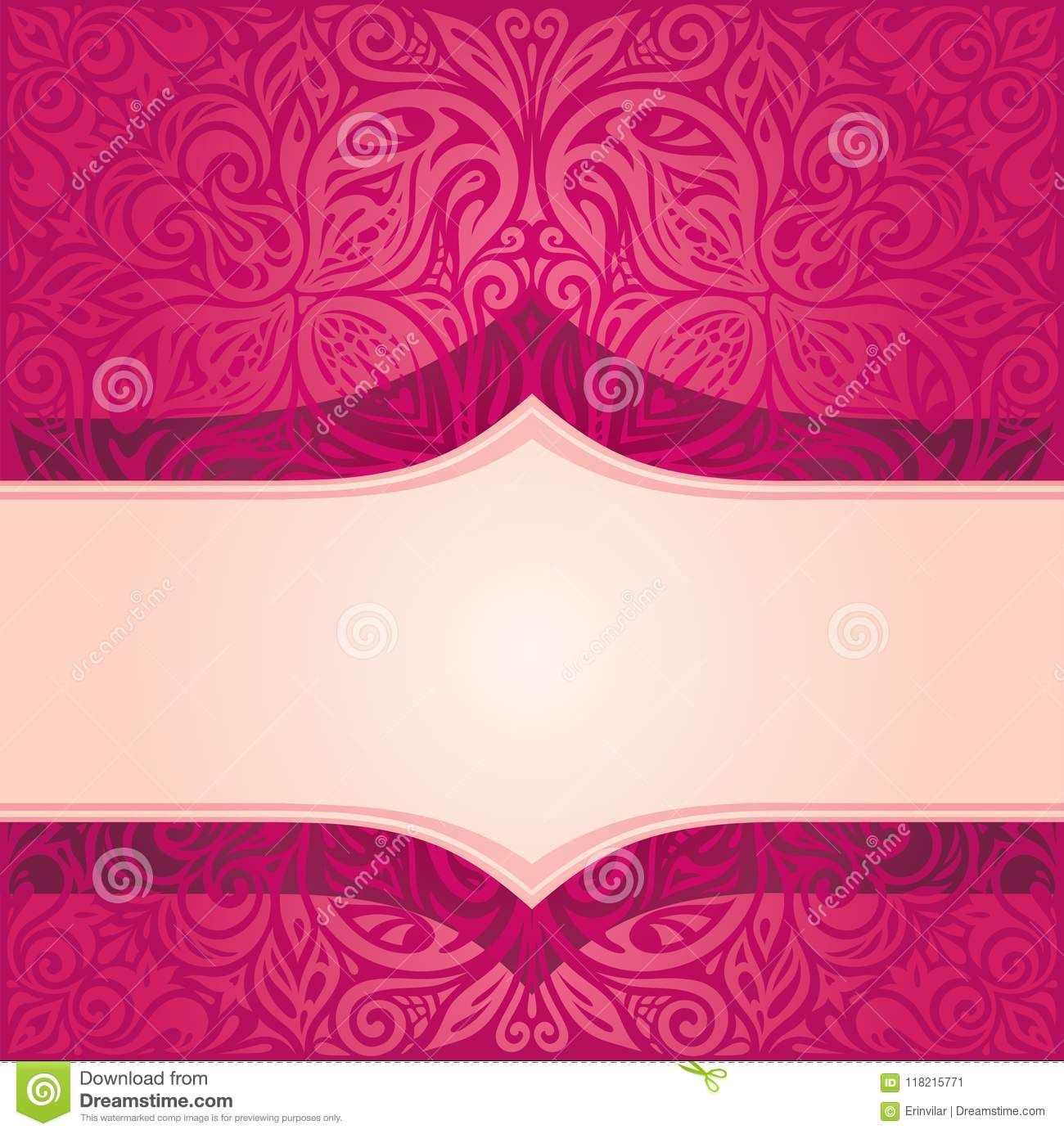 Retro floral red vector pattern wallpaper design in vintage style