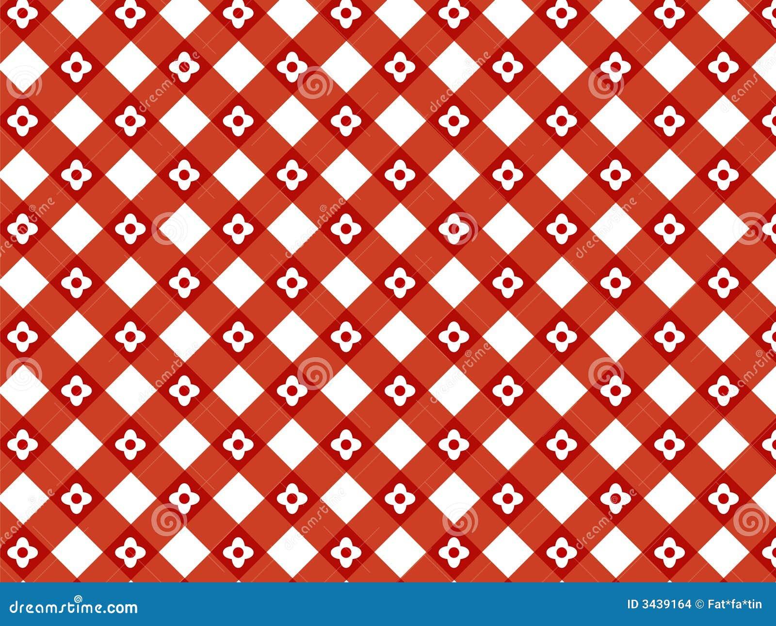 Retro flower red plaid pattern