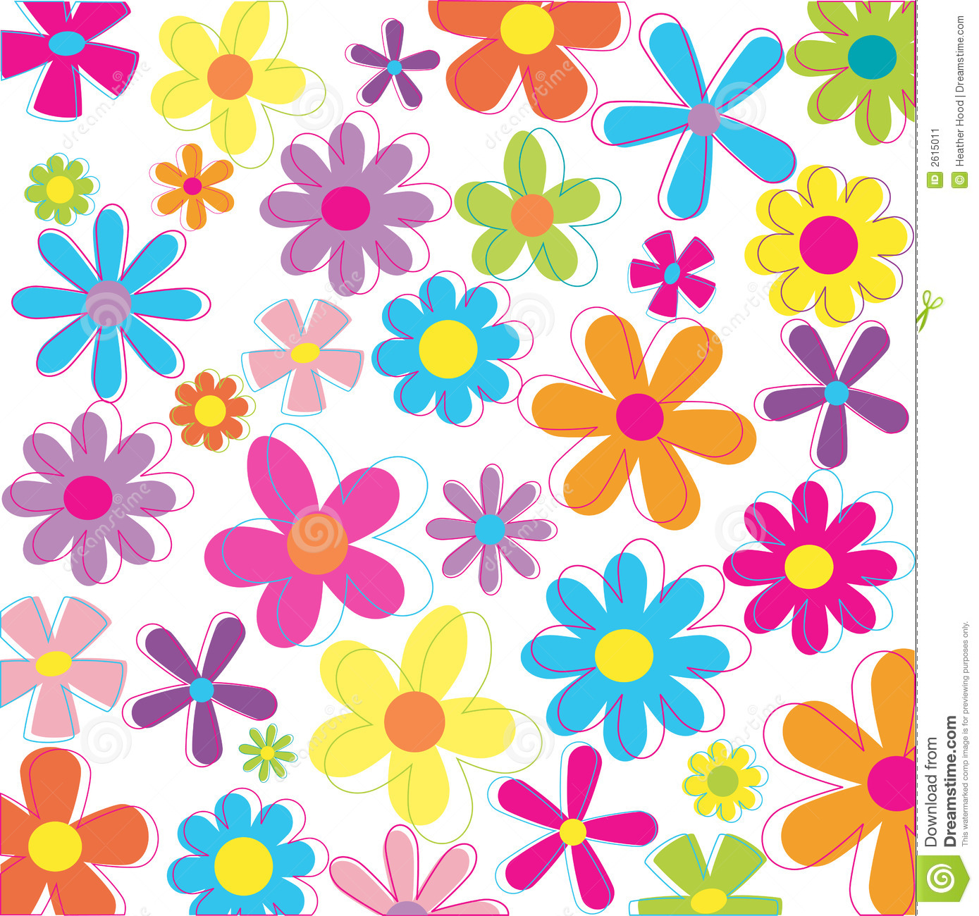 Multicolored flowers in retro style and colors.