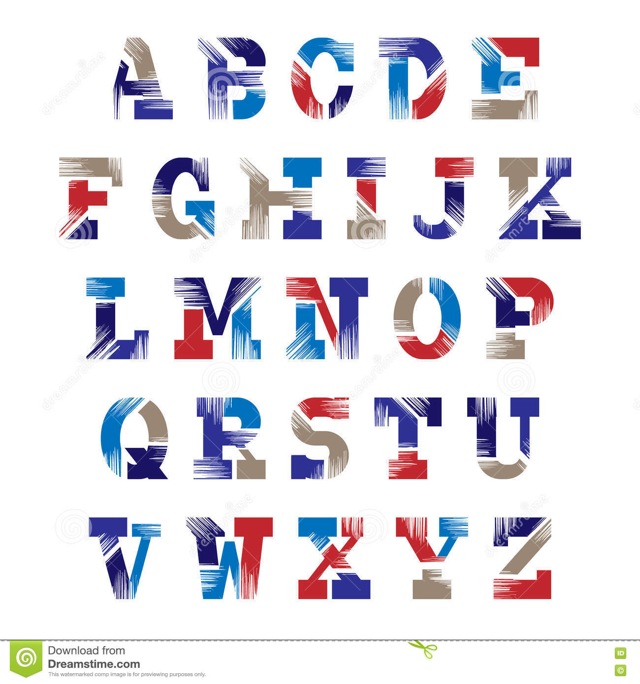 retro font set of vintage letters vector graphic alphabet stock