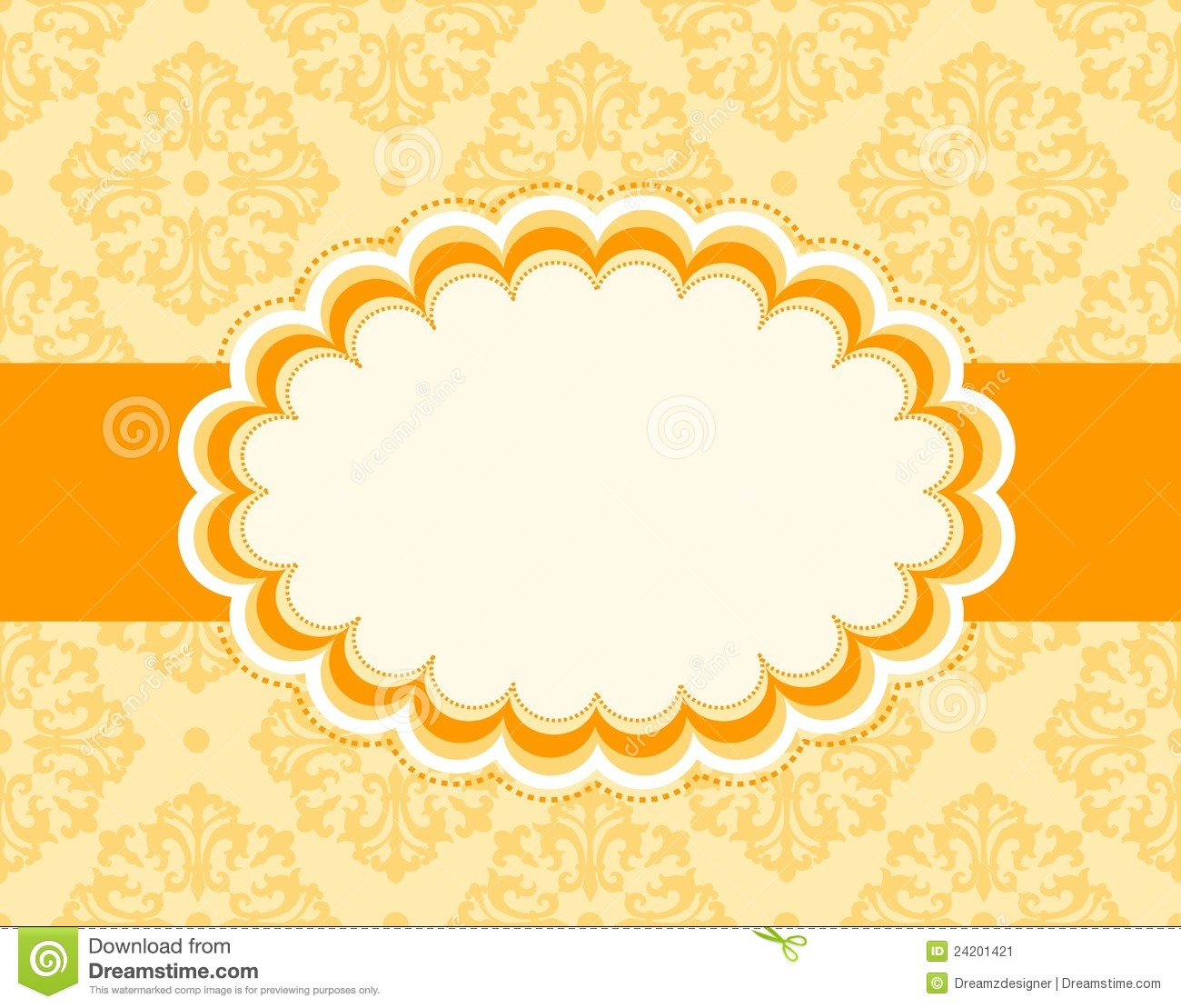Orange retro wedding invitation/ anniversary background / frame design