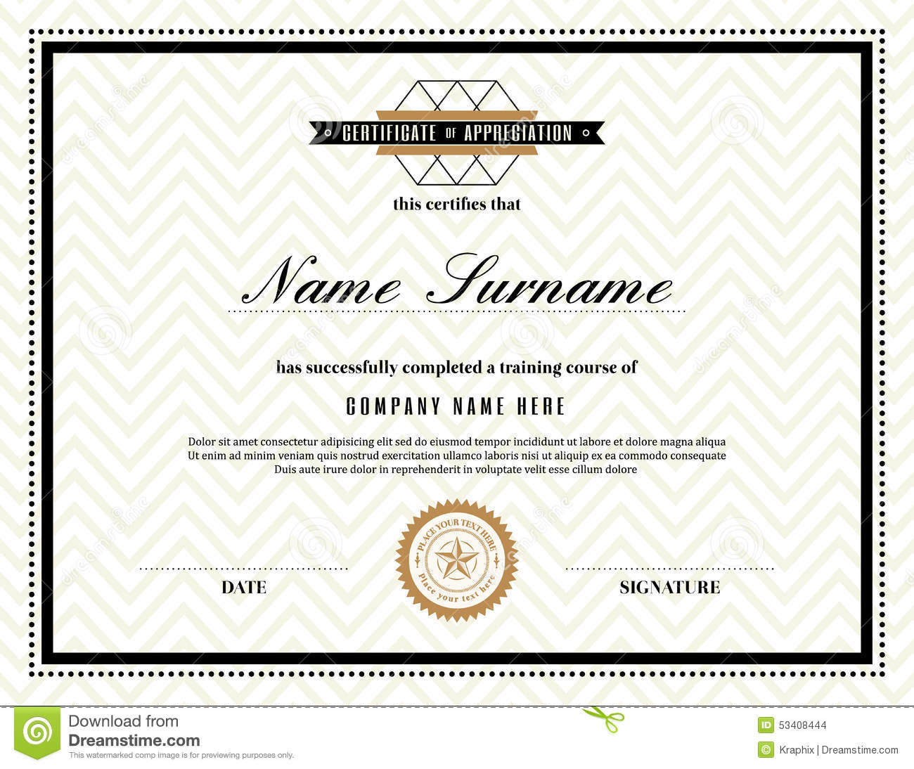 Retro Frame Certificate Of Appreciation Template Stock