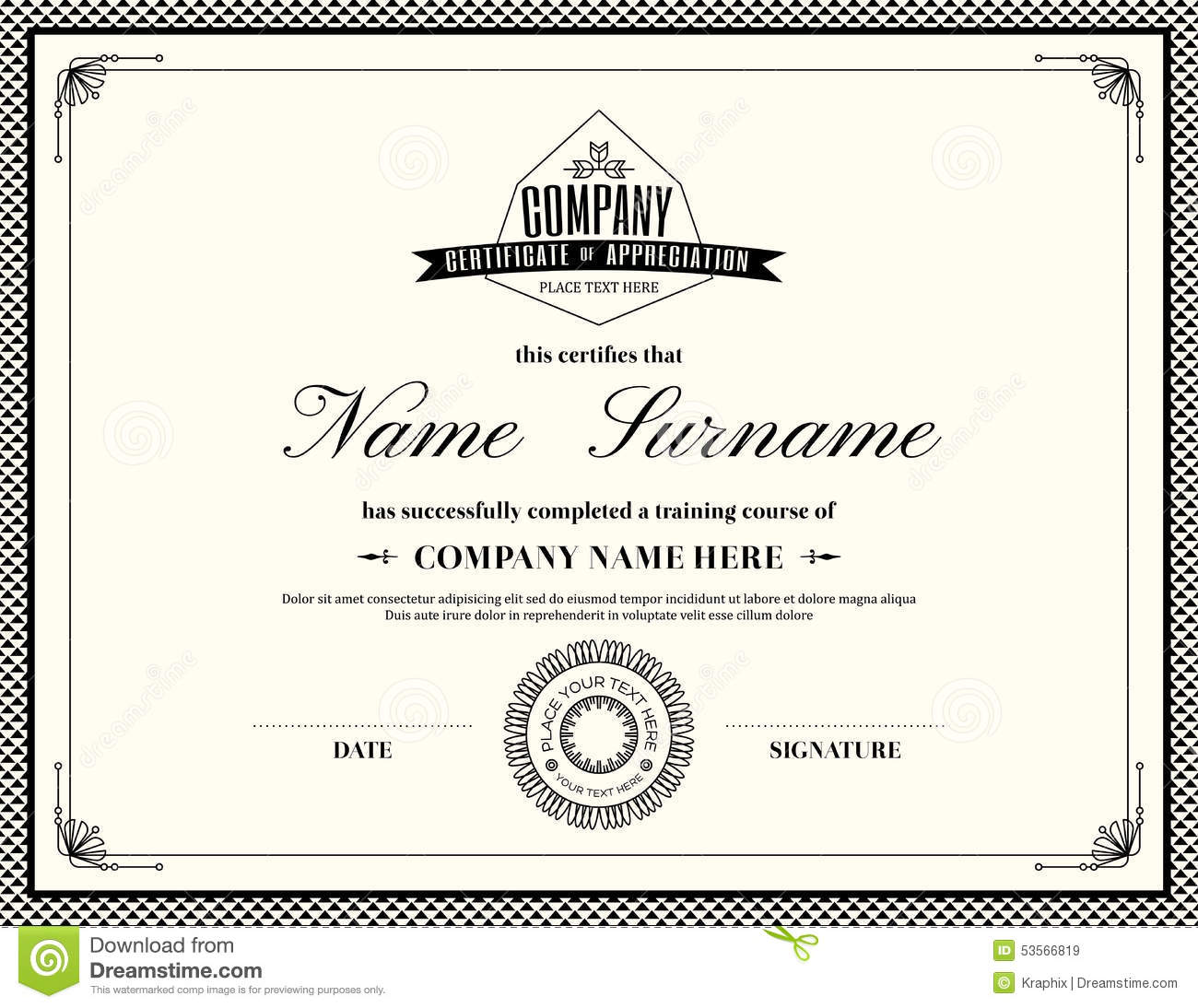 retro frame certificate of appreciation template stock vector