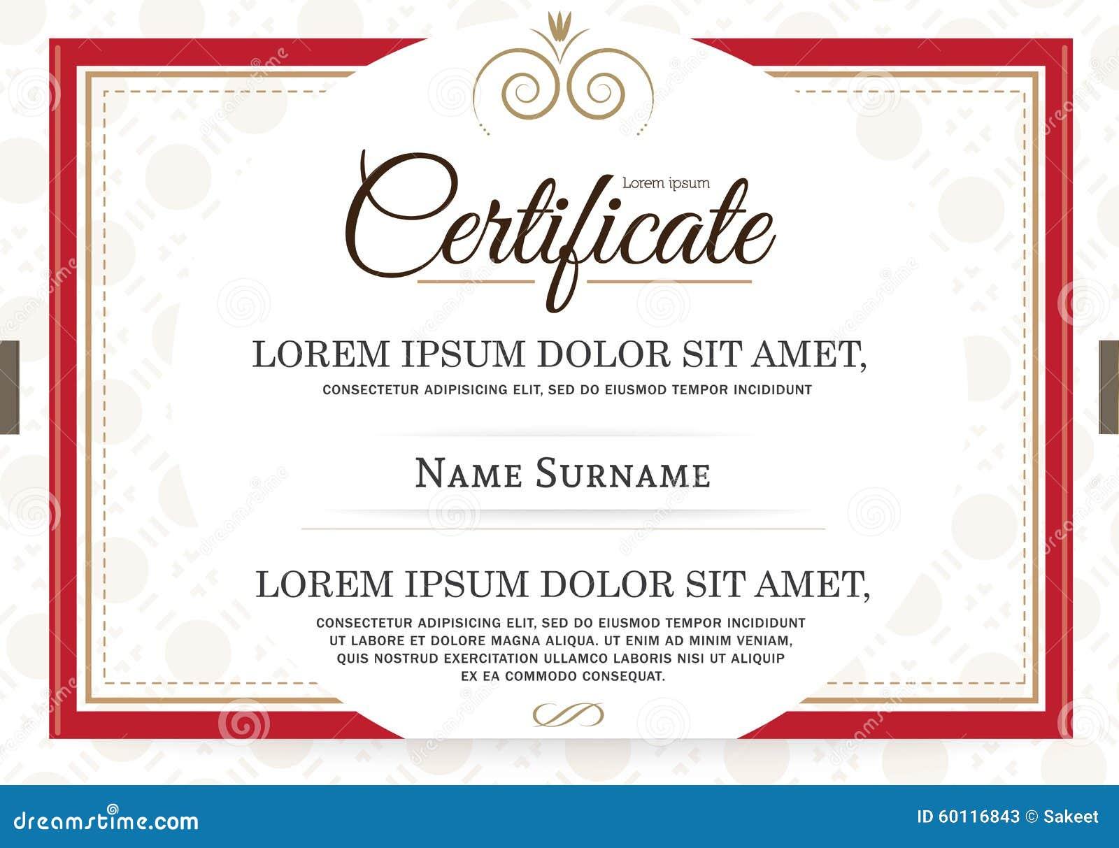 Retro frame certificate template vector stock vector for Certificate frame template