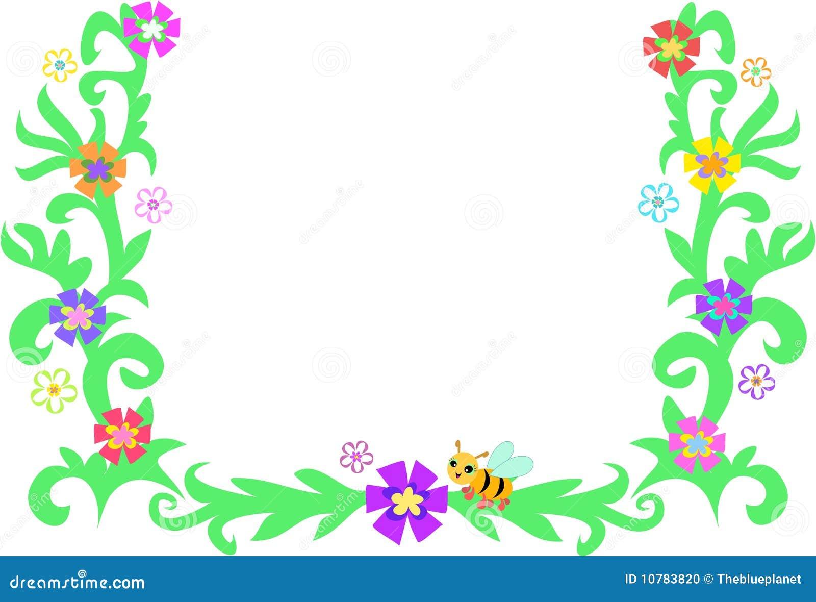 Retro Frame van Bladeren, Wijnstokken, Bij, en Bloemen