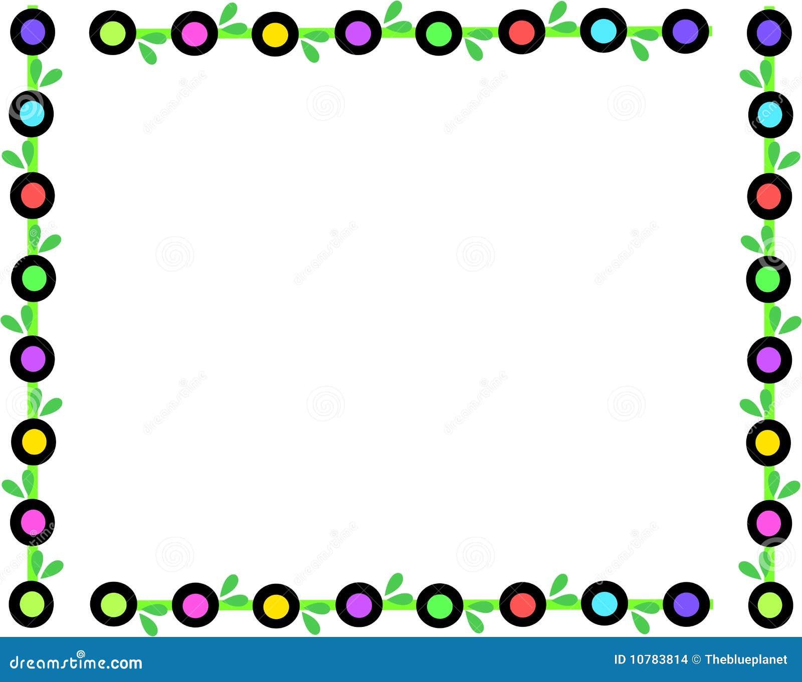 Retro Frame van Gekleurde Cirkels en Bladeren