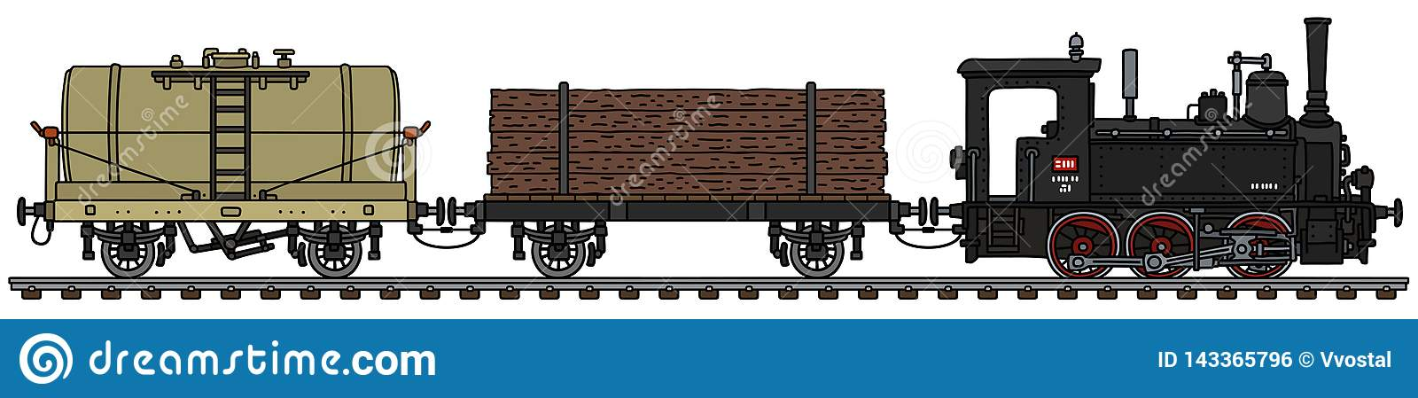 The Retro Freight Steam Train Stock Vector - Illustration of fuel