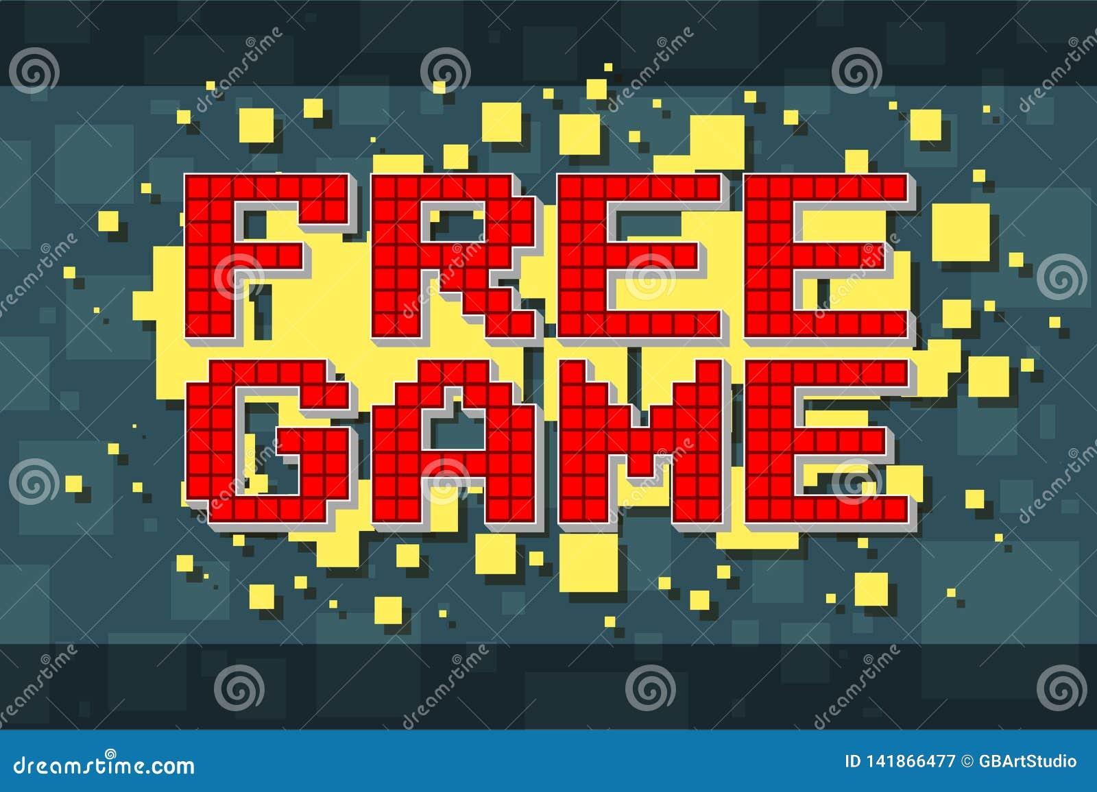 Retro fri modig knapp för rött PIXEL för videospel
