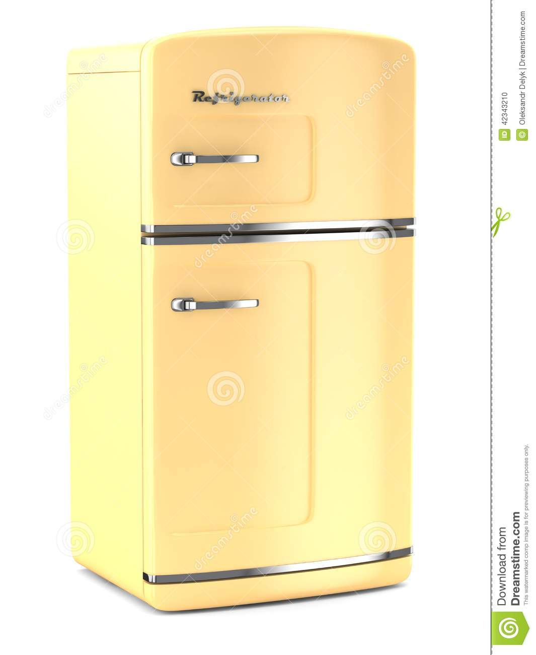 Retro Fridge On White Background Stock Illustration - Image: 42343210 | {Kühlschrank retro 30}