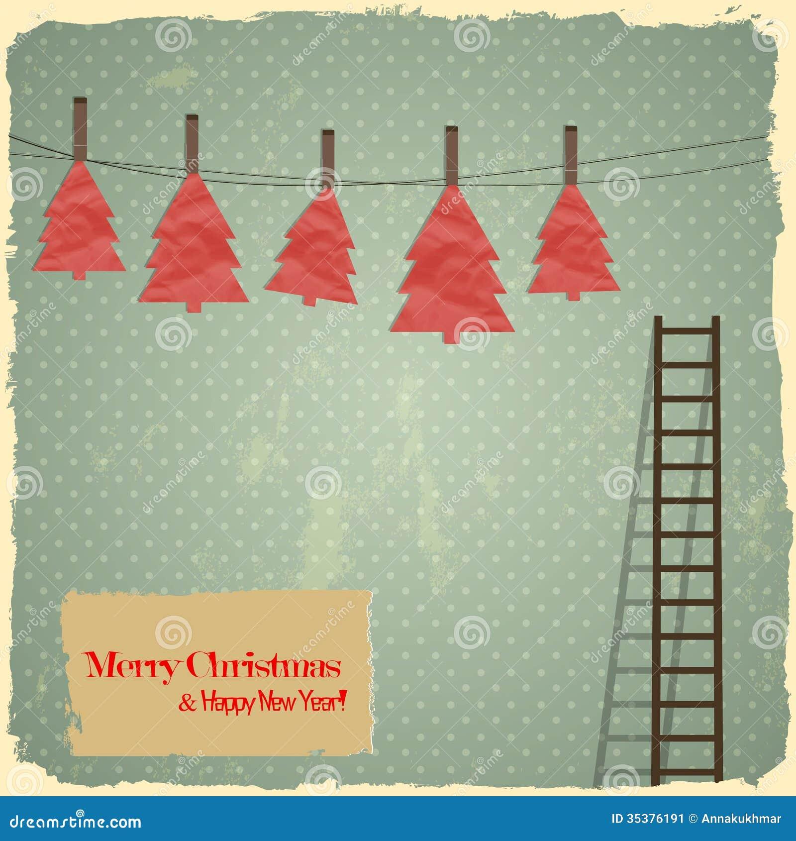 retro frohe weihnachten mit weihnachtsb umen auf vi vektor abbildung illustration von