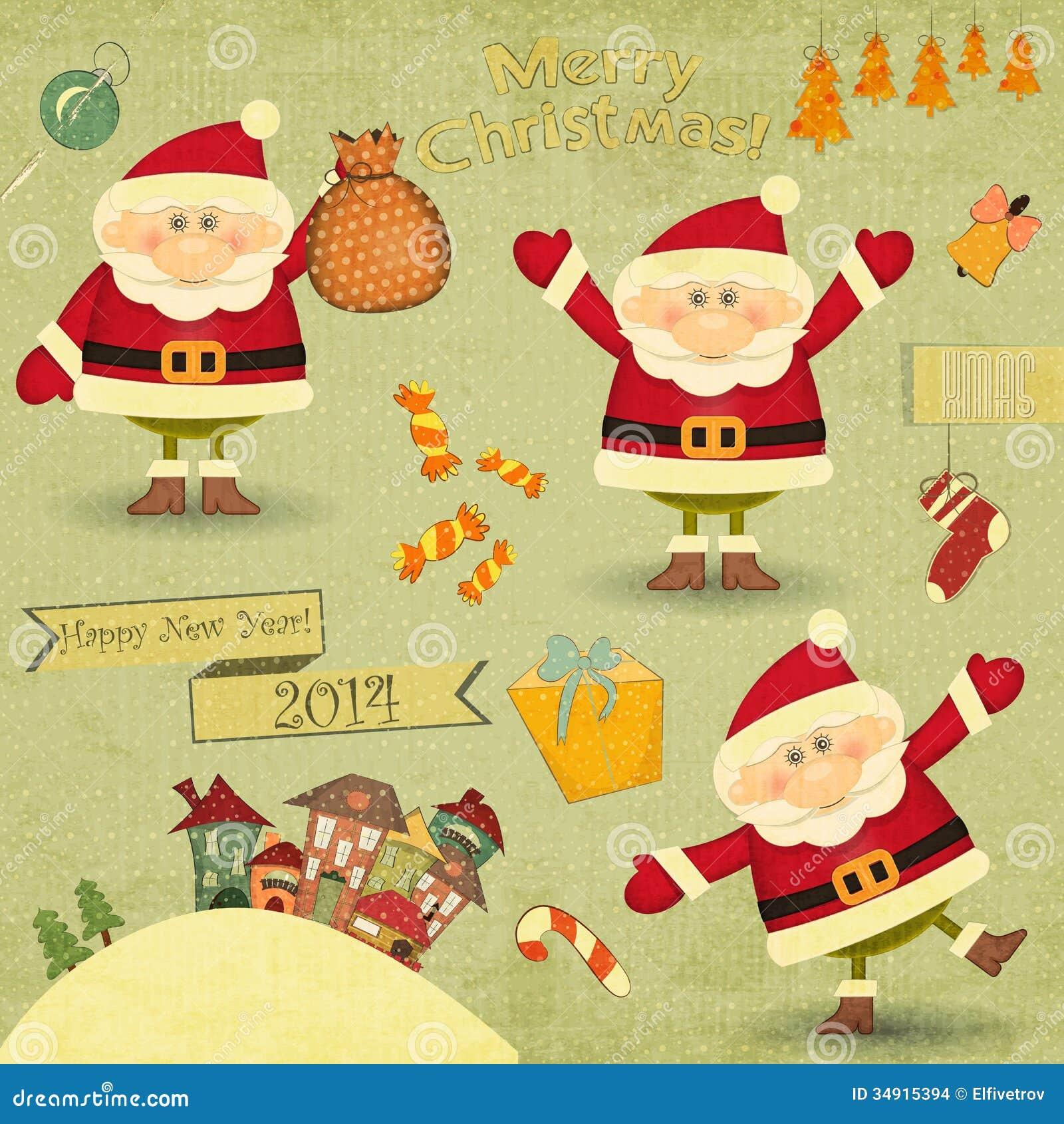 retro frohe weihnachten und neue jahre karten vektor abbildung illustration von hintergrund