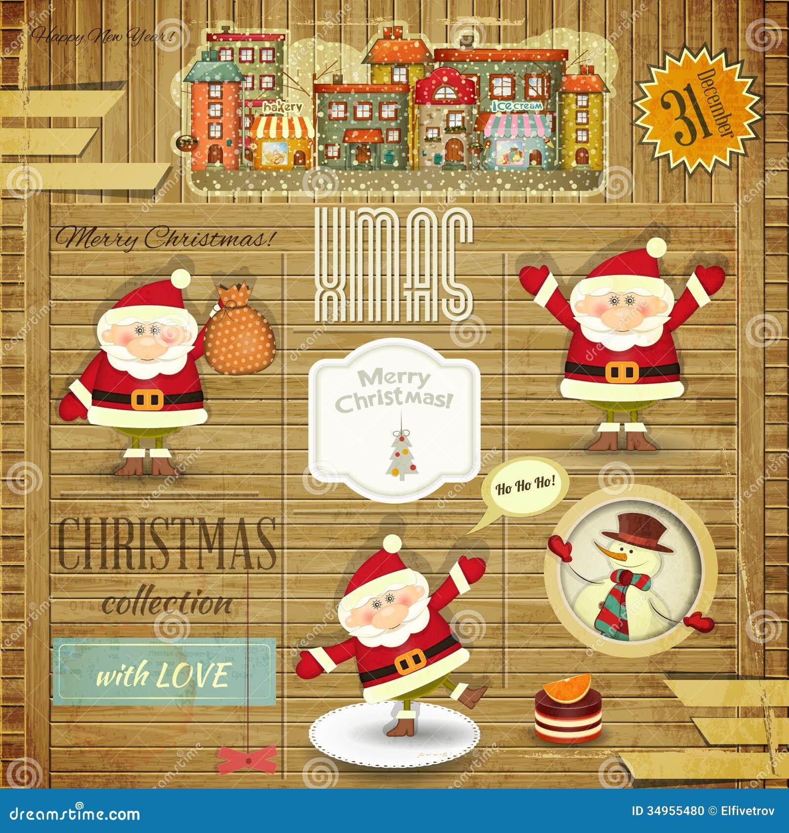 retro frohe weihnachten und neue jahre karten vektor abbildung illustration von karte