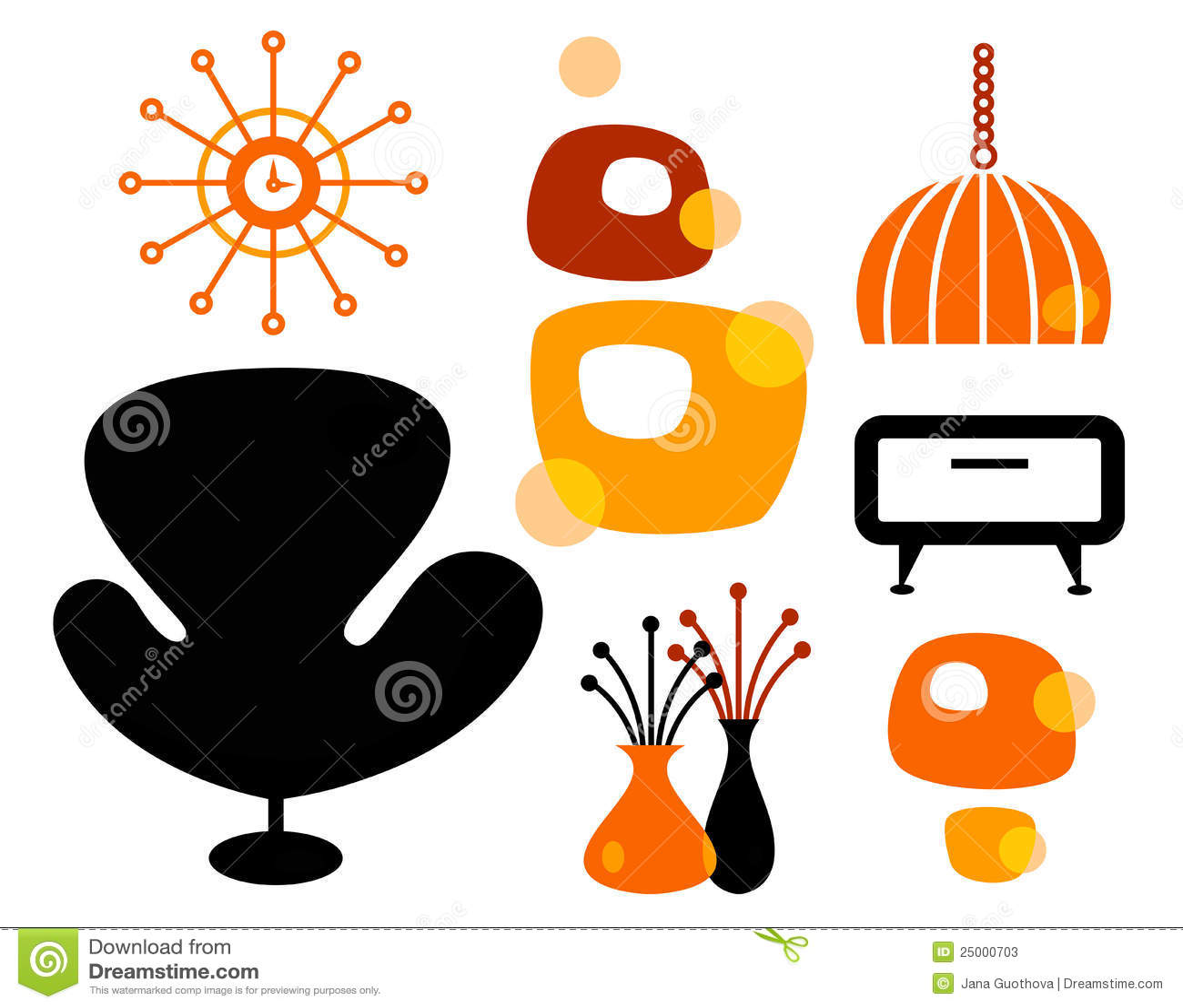 Retro Furniture Set Stock Photos Image 25000703