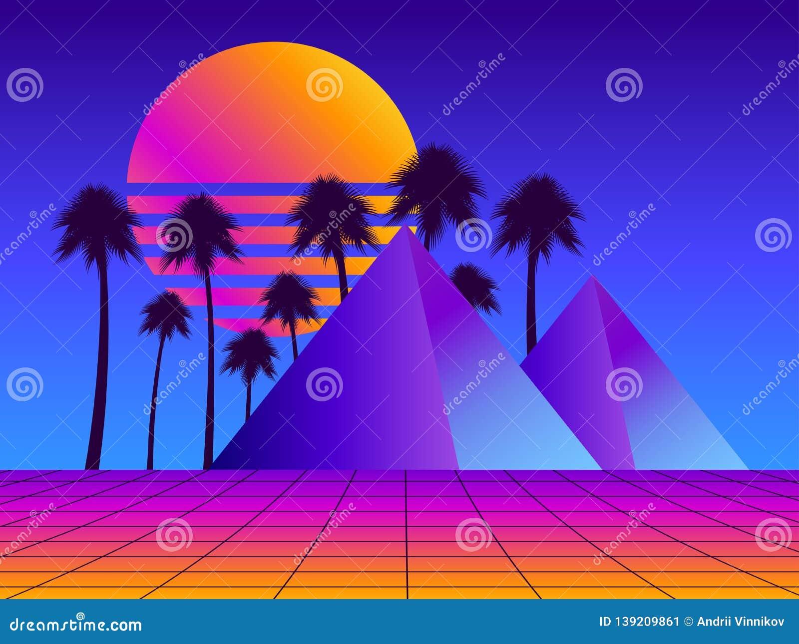 retro futurism pyramids palm trees perspective grid neon sunset synthwave retro background retrowave vector retro futurism 139209861