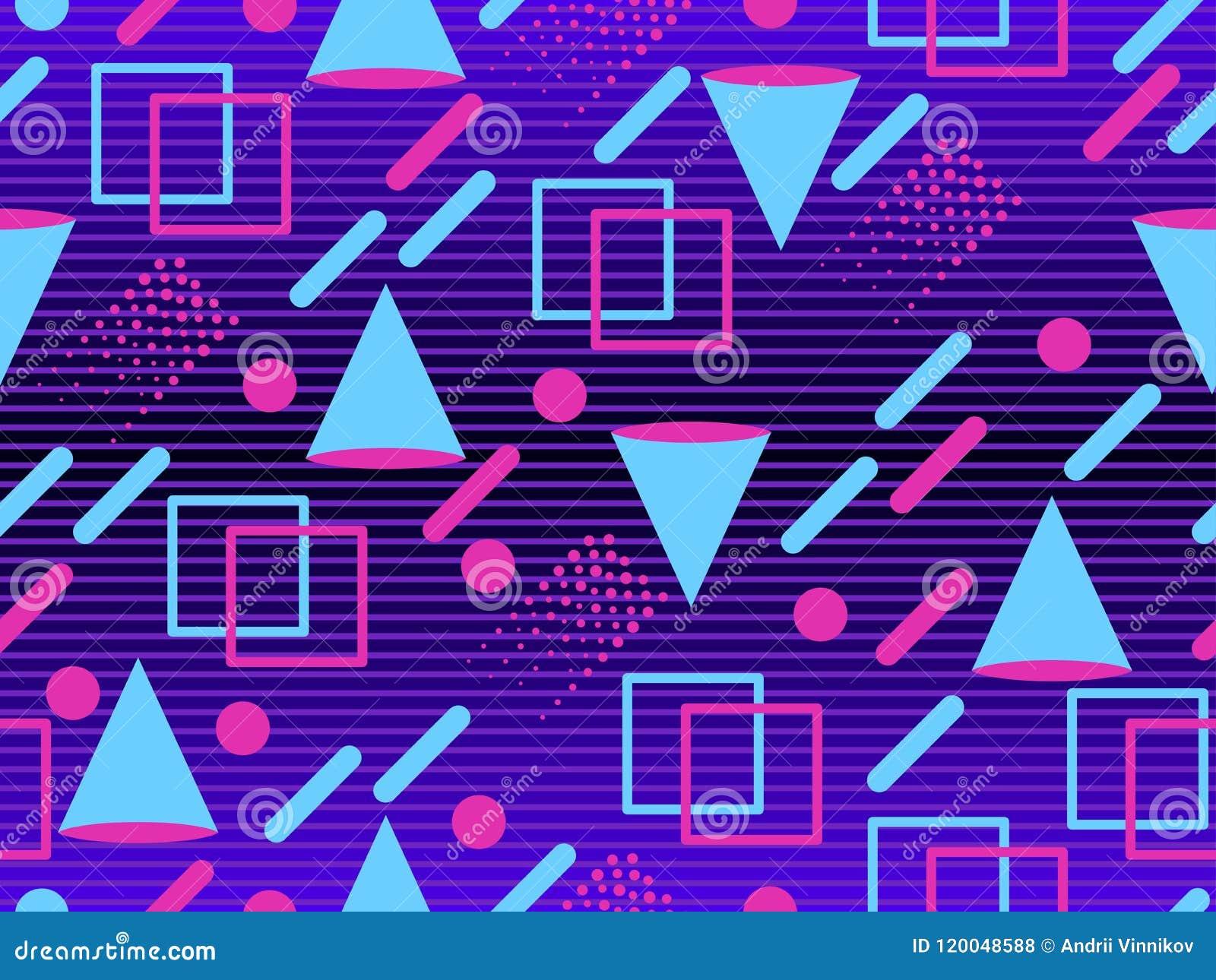 Retro Futurism Seamless Pattern  Geometric Elements Memphis In The