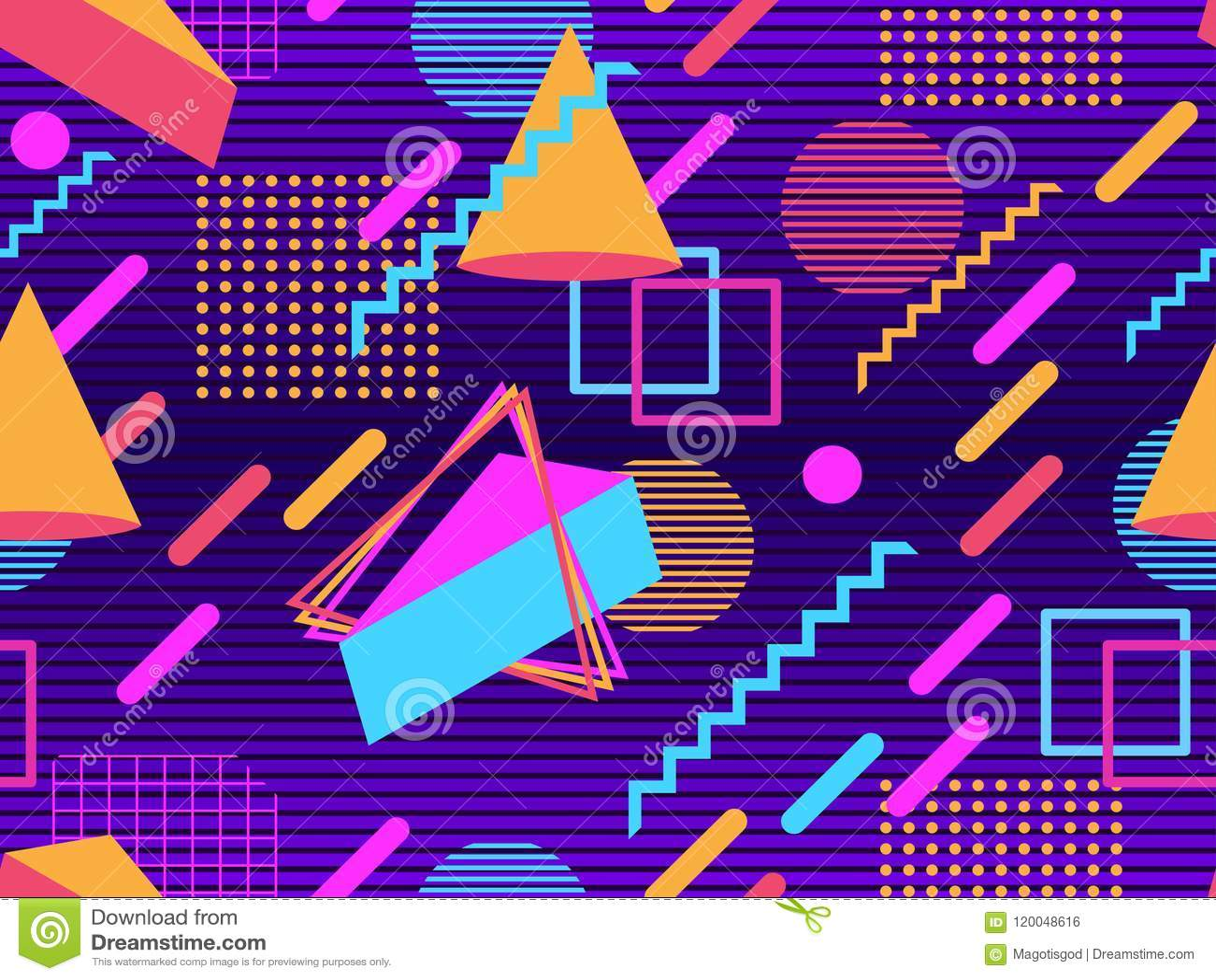 Retro Futurism Seamless Pattern  Geometric Elements Memphis