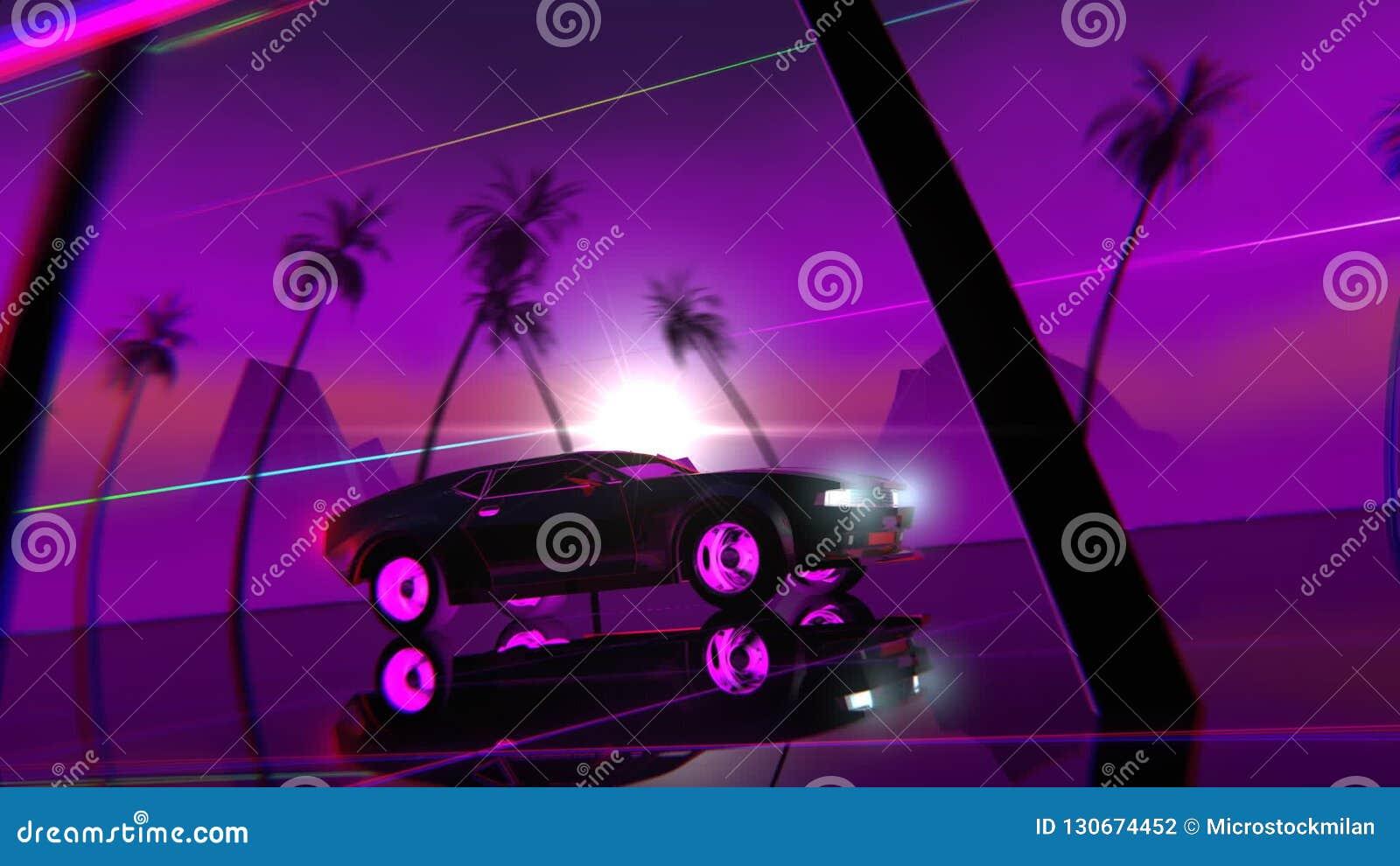 Retro-futuristic 80s style Car  Abstract, dream
