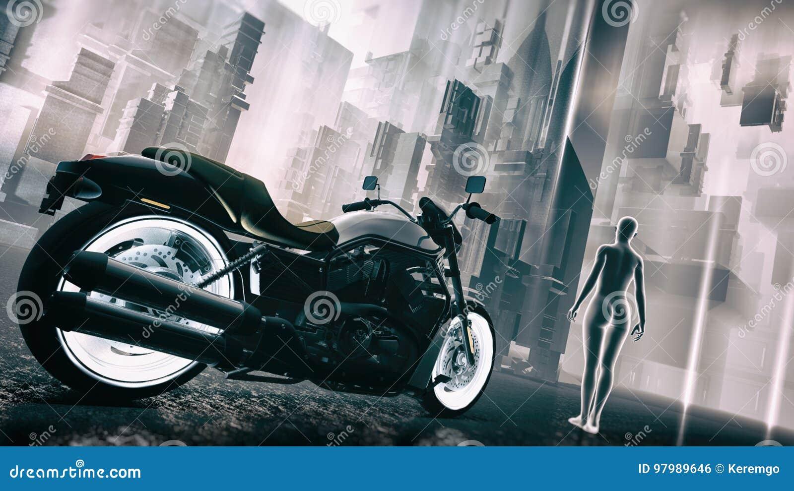 Retro Futuristic Sci-Fi Motorcycle Cityscape Illustration