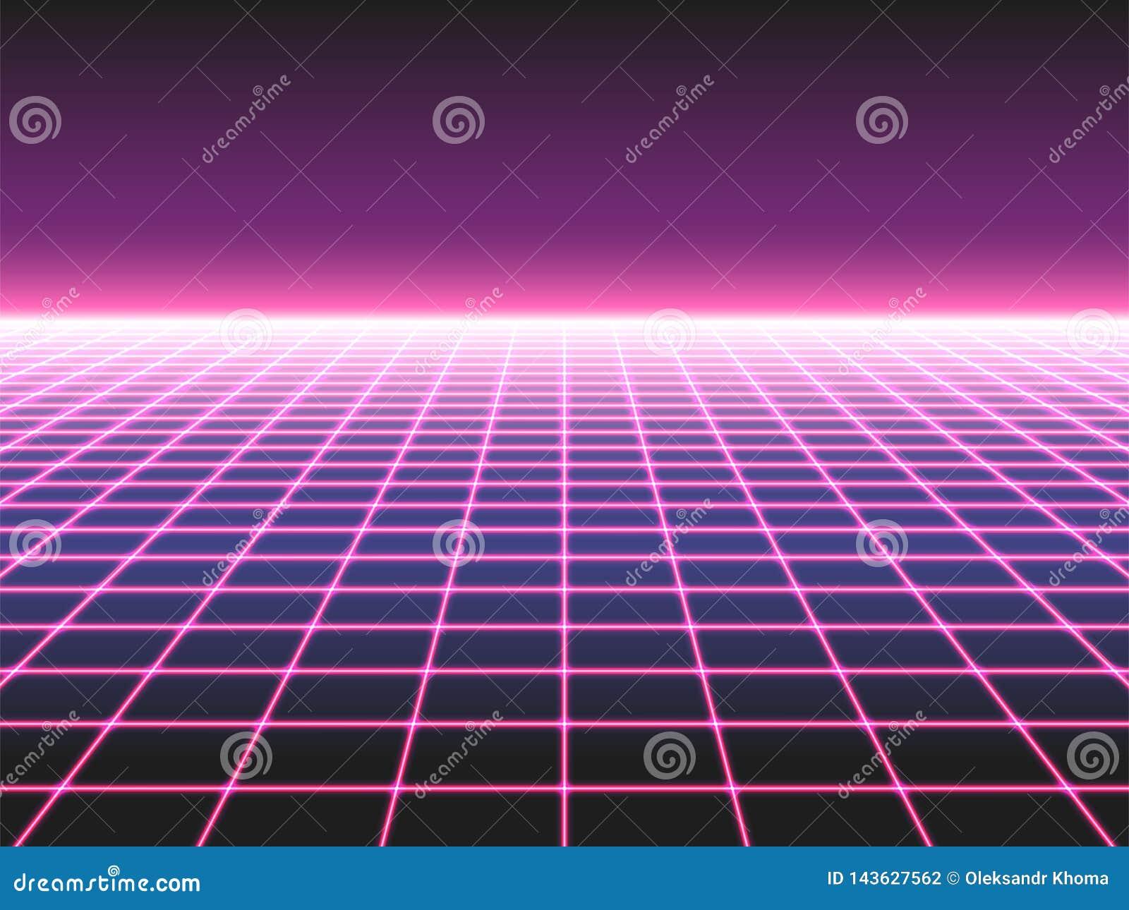 Retro futuristisk neonrasterbakgrund, landskap för nivå för 80-taldesign som perspektiv förvridet komponeras av korsade neonljus,