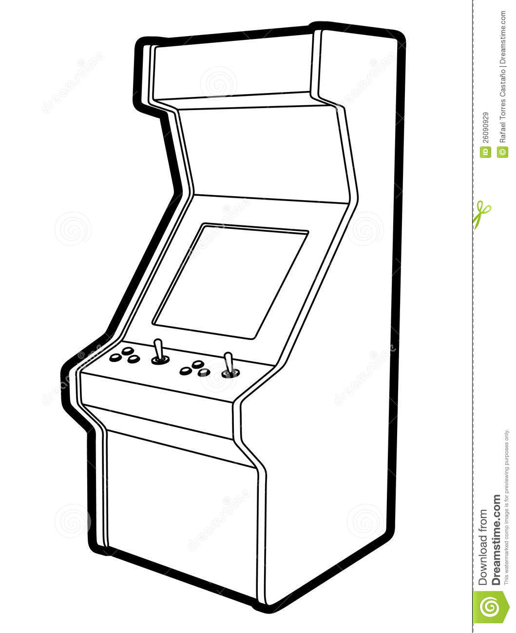 Line Drawing Game : Retro game machine stock vector illustration of