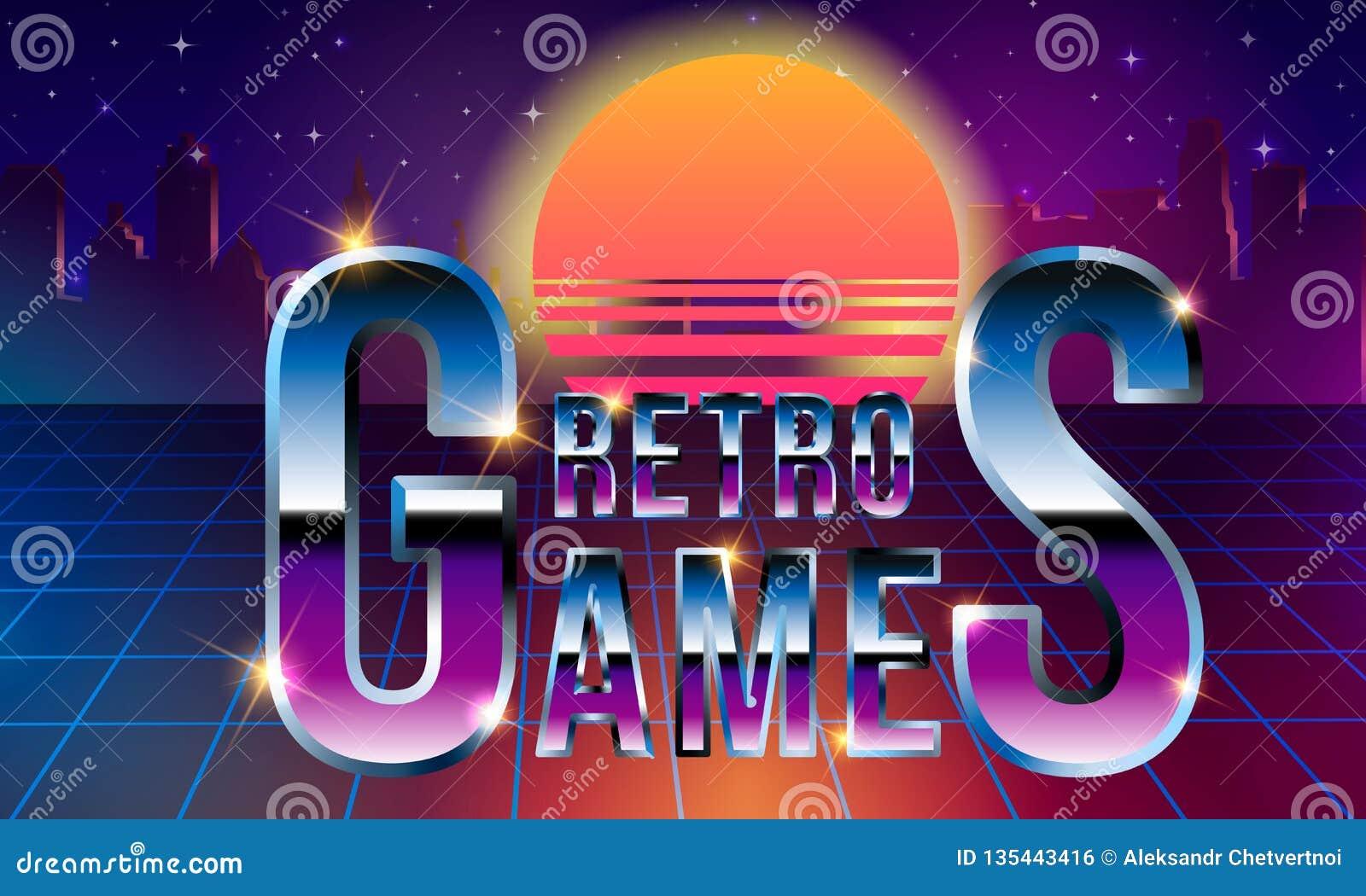 Retro Games  Fancy Retrofuturistic Neon Font On Dark