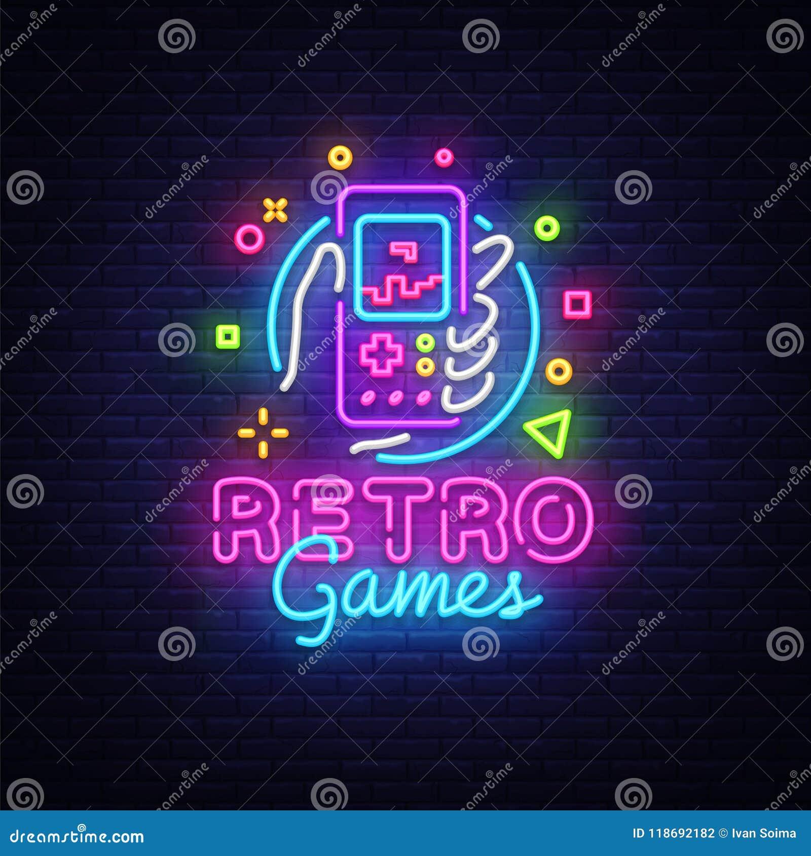 Retro Games Vector Logo Retro Geek Gaming Gamepad In Hand Neon Sign Modern Trend Design Vivid Vector Illustration Stock Vector Illustration Of Controller Control 118692182