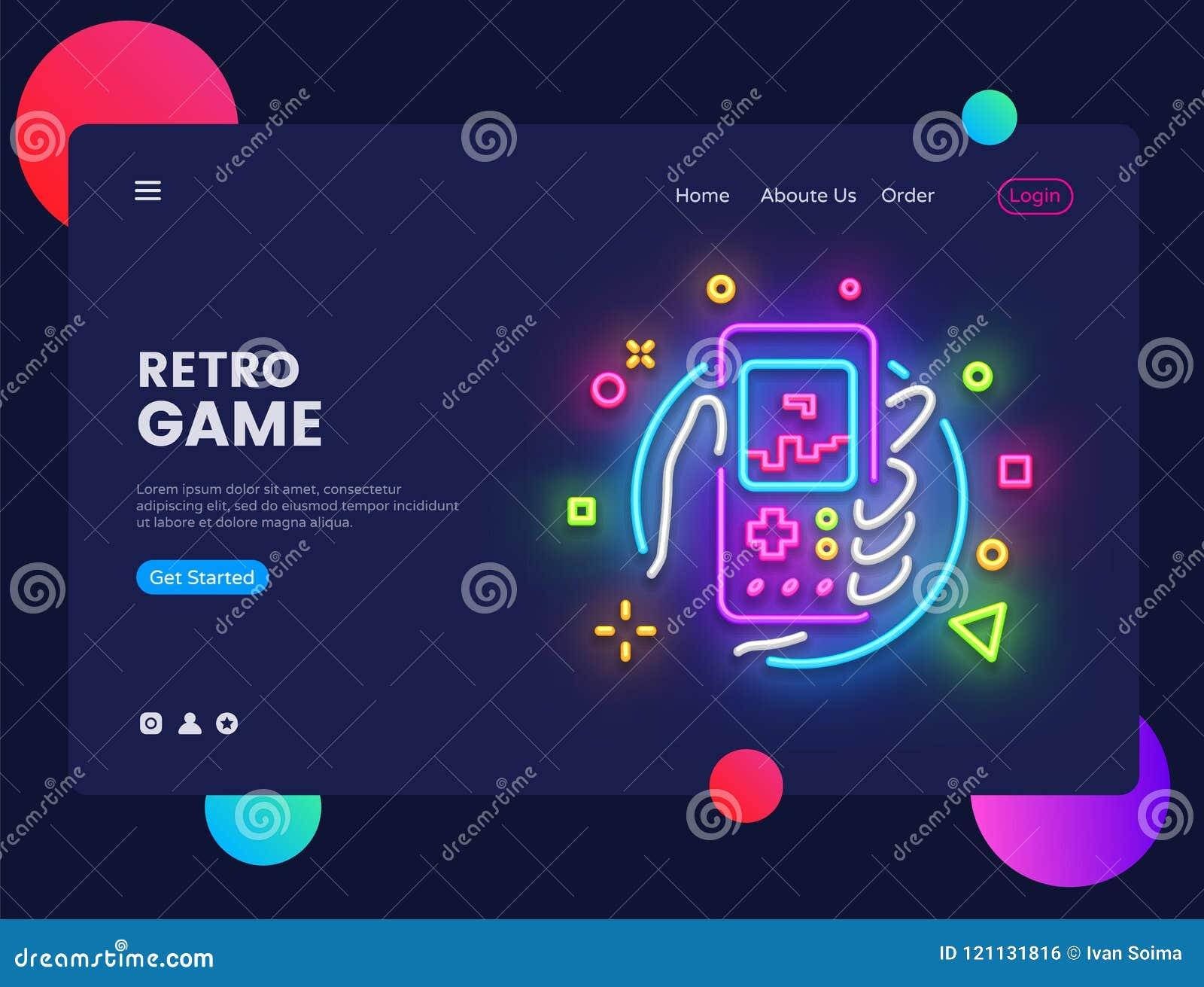 Retro Games Website Concept Banner Vector Design Template Retro Game Light Banner In Neon Style Retro Geek Gaming Stock Vector Illustration Of Horizontal Icon 121131816