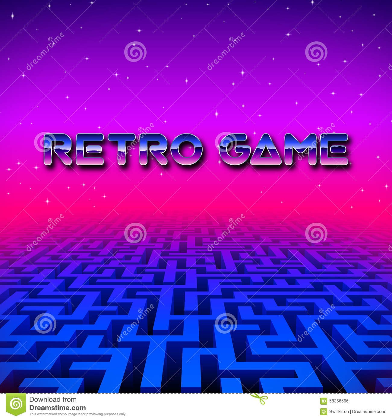 Retro gaming hipster neon landscape with labyrinth