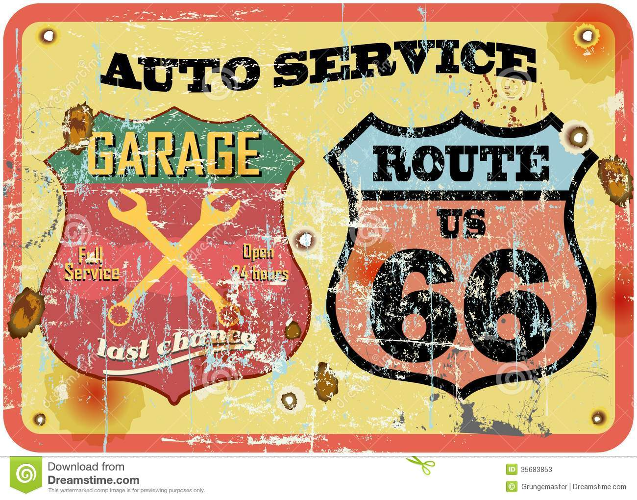 Retro garage sign stock vector image of shape doodle for Garage route 66 metz